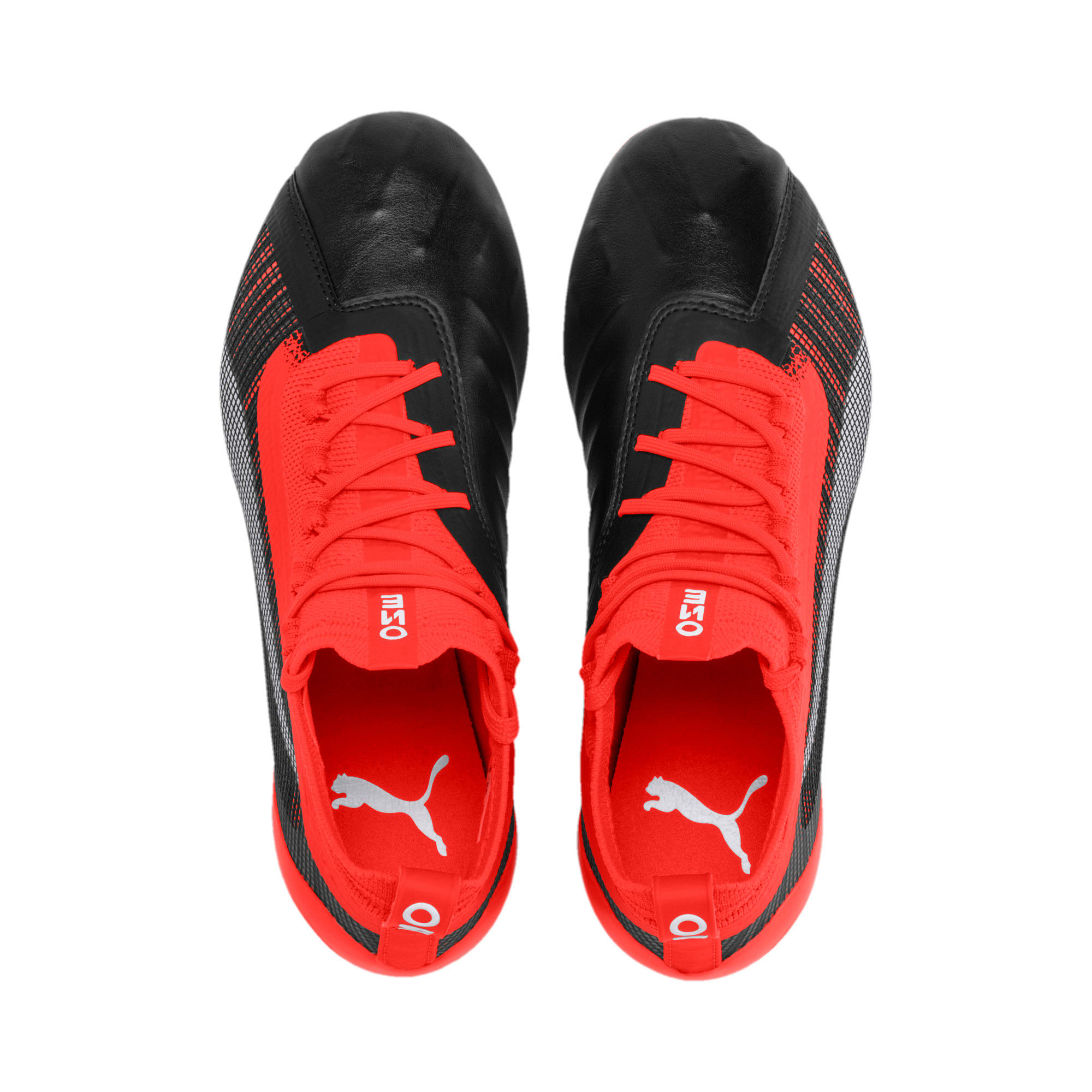 Thumbnail 6 of PUMA ONE 5.1 FG/AG Soccer Cleats JR, Black-Nrgy Red-Aged Silver, medium