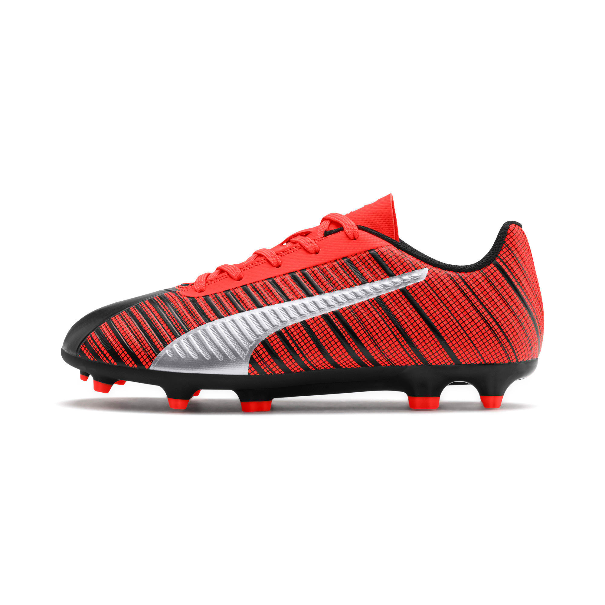 Thumbnail 1 of PUMA ONE 5.4 IT voetbalschoenen voor jongeren, Black-Nrgy Red-Aged Silver, medium