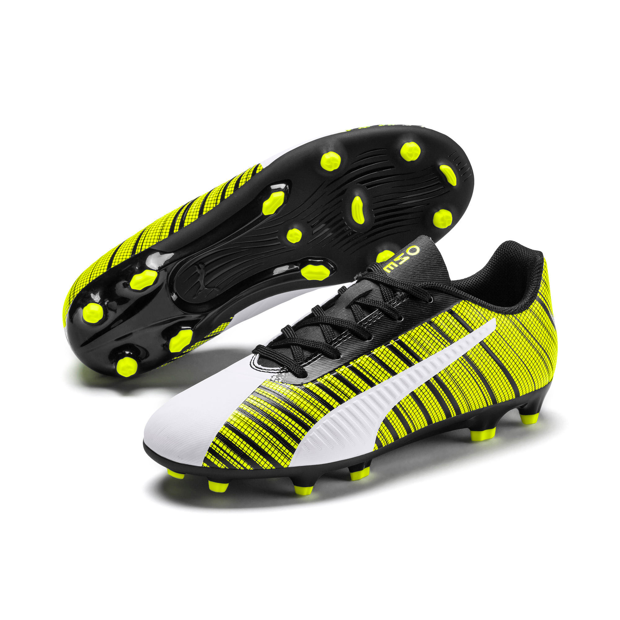 Thumbnail 2 of PUMA ONE 5.4 FG/AG Youth Fußballschuhe, White- Black-Yellow Alert, medium