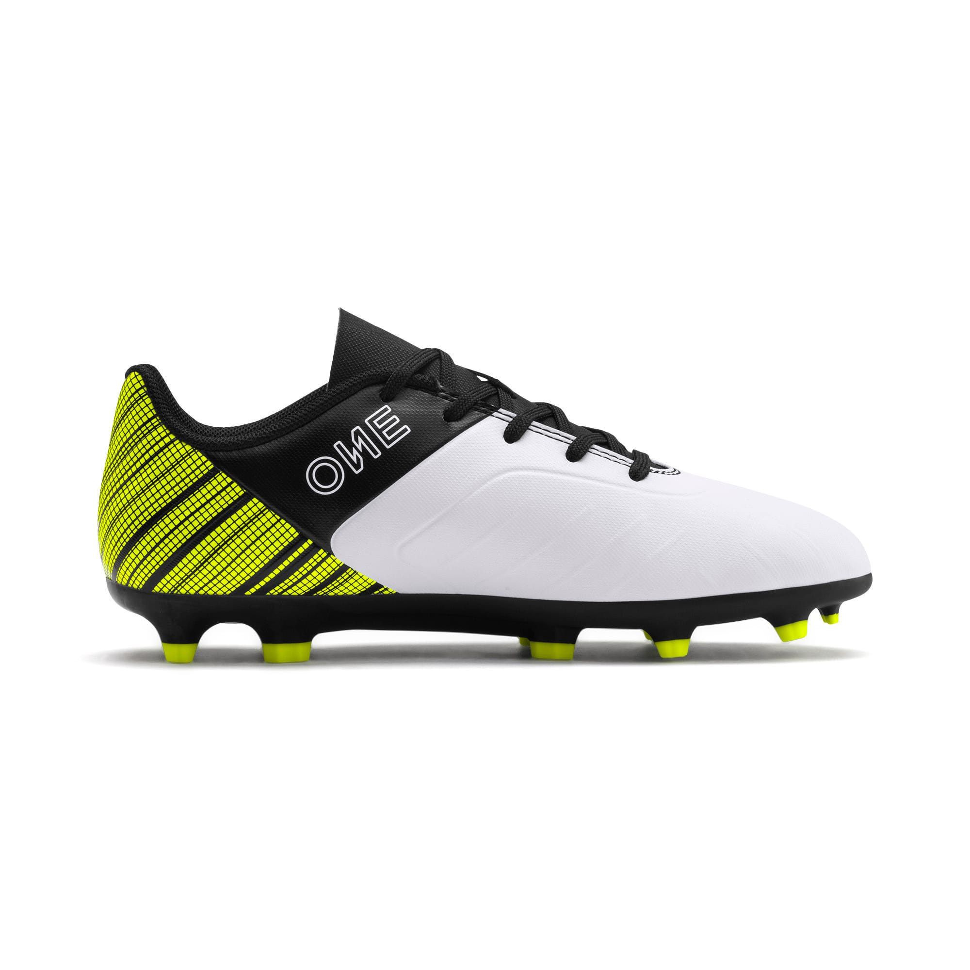 Thumbnail 5 of PUMA ONE 5.4 FG/AG Youth Fußballschuhe, White- Black-Yellow Alert, medium