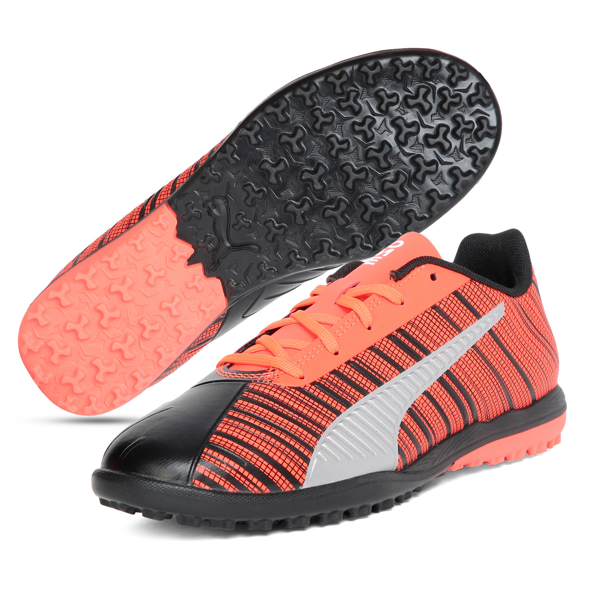 Thumbnail 2 of PUMA ONE 5.4 TT Youth Football Boots, Black-Nrgy Red-Aged Silver, medium-IND