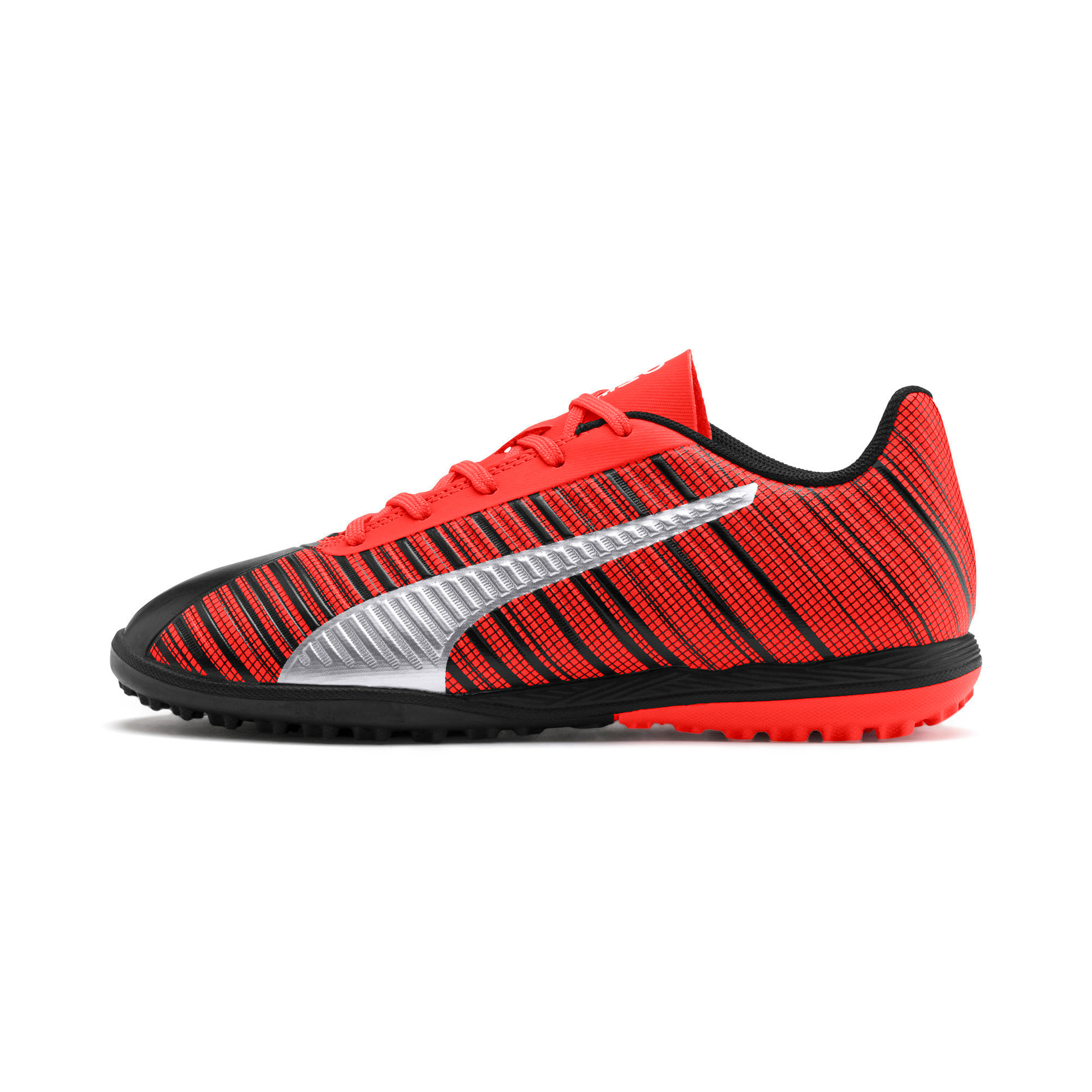 Thumbnail 1 of PUMA ONE 5.4 TT Soccer Shoes JR, Black-Nrgy Red-Aged Silver, medium