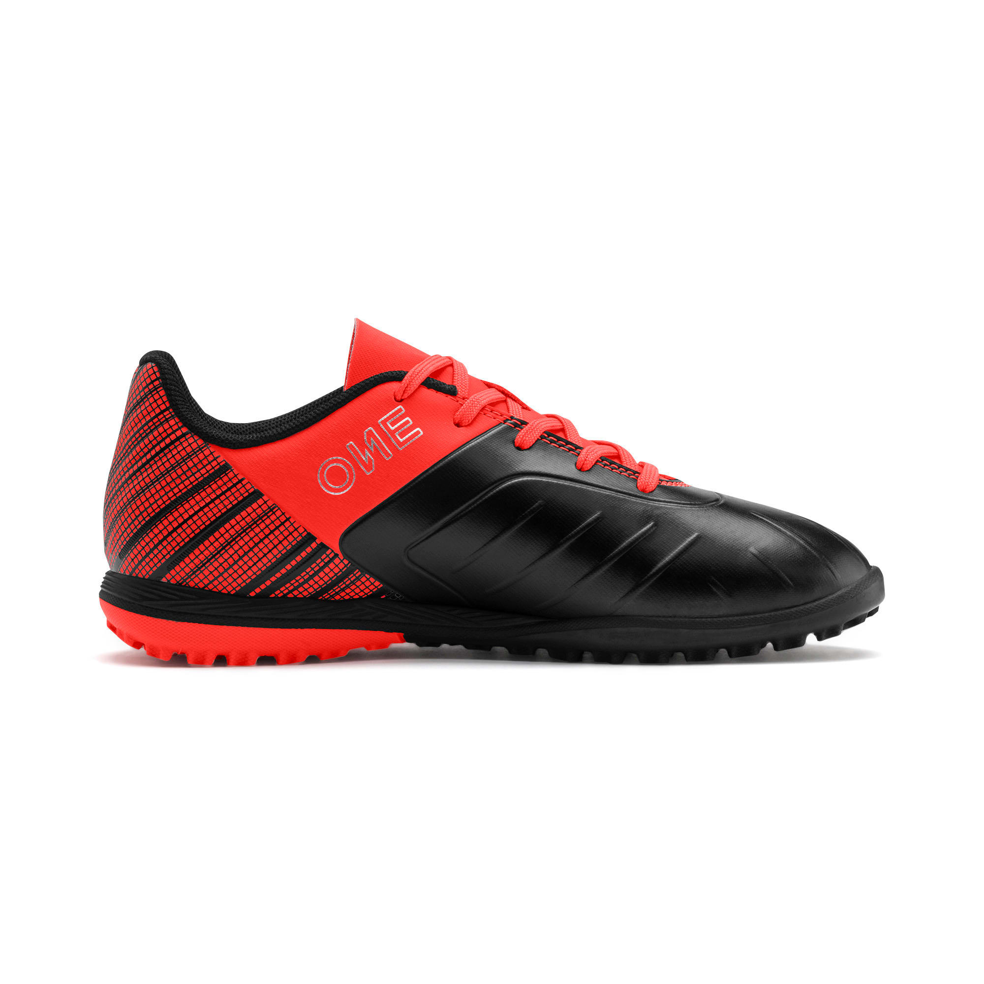 Thumbnail 5 of PUMA ONE 5.4 TT Youth Football Boots, Black-Nrgy Red-Aged Silver, medium-IND