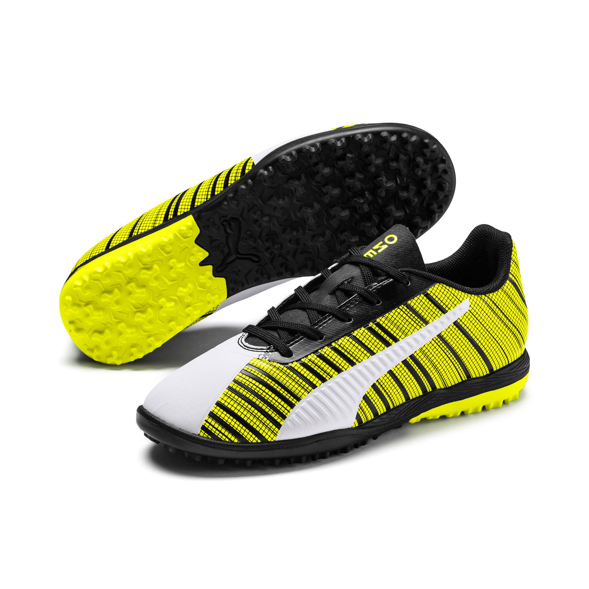 Thumbnail 2 of PUMA ONE 5.4 TT Youth Football Boots, White-Black-Yellow Alert, medium