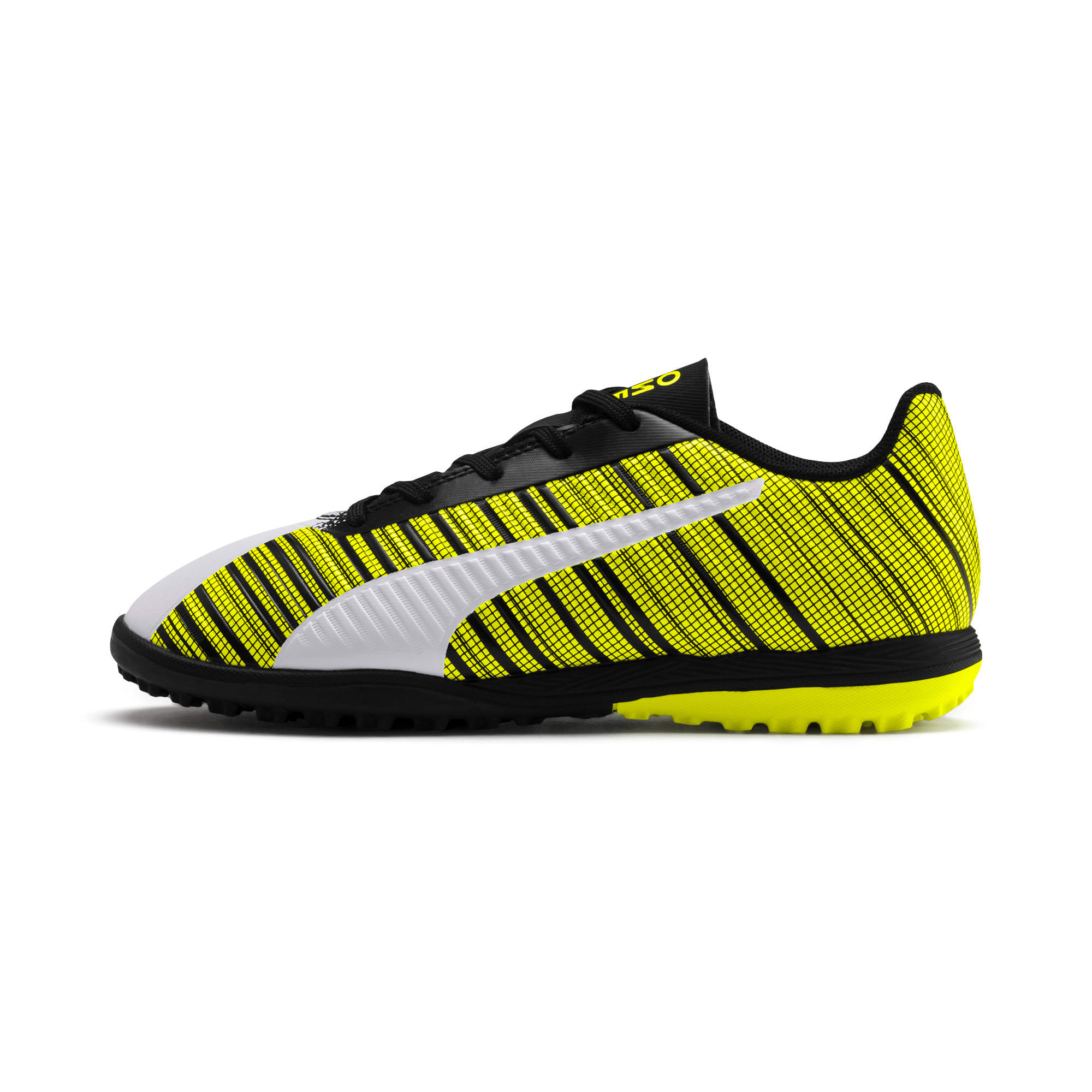 Thumbnail 1 of PUMA ONE 5.4 TT Youth Football Boots, White-Black-Yellow Alert, medium