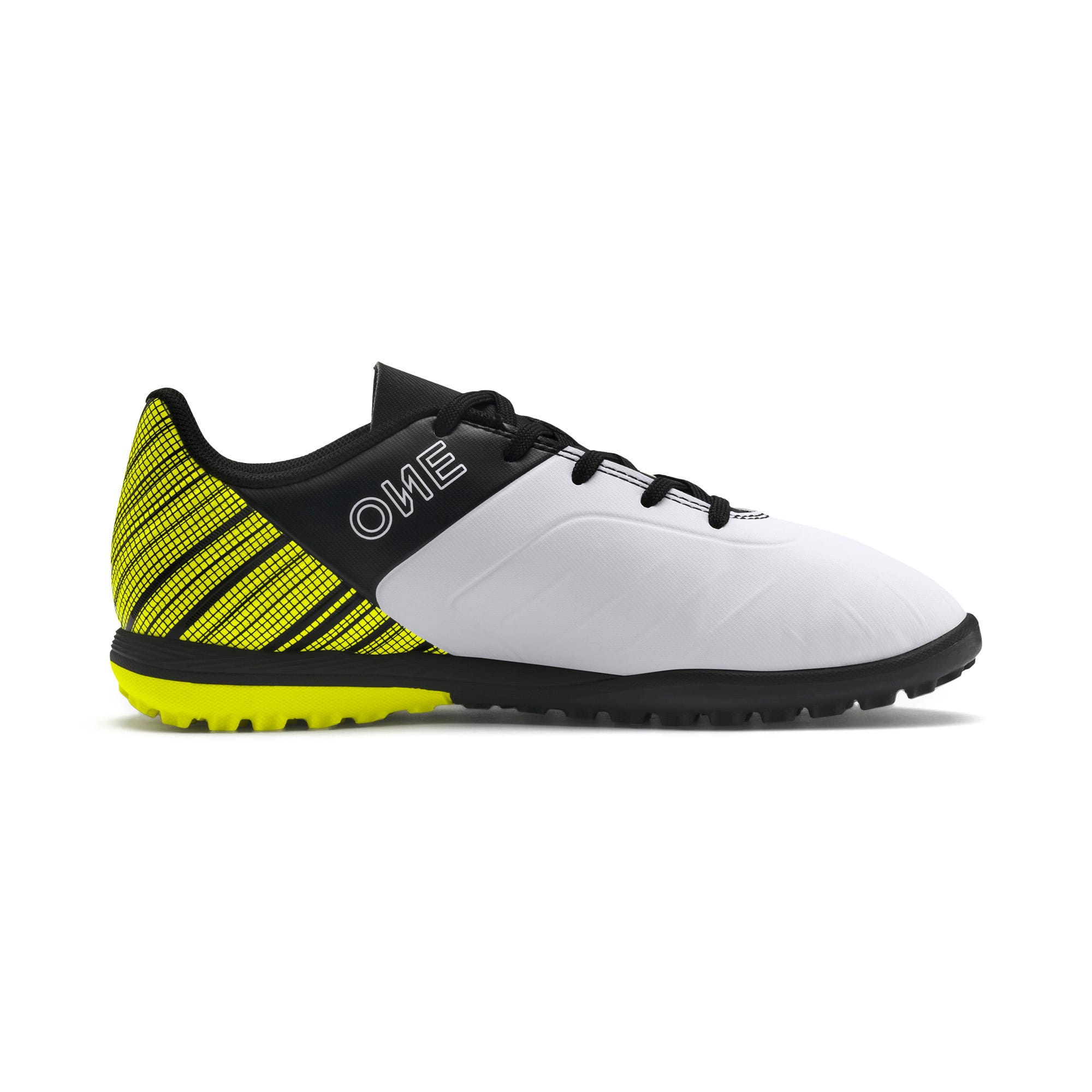 Thumbnail 5 of PUMA ONE 5.4 TT Youth Football Boots, White-Black-Yellow Alert, medium