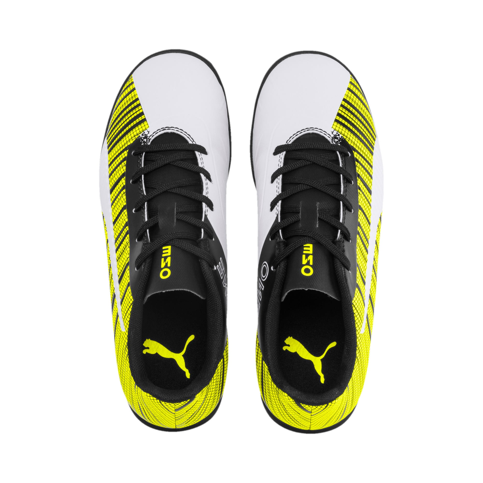 Thumbnail 6 of PUMA ONE 5.4 TT Youth Football Boots, White-Black-Yellow Alert, medium