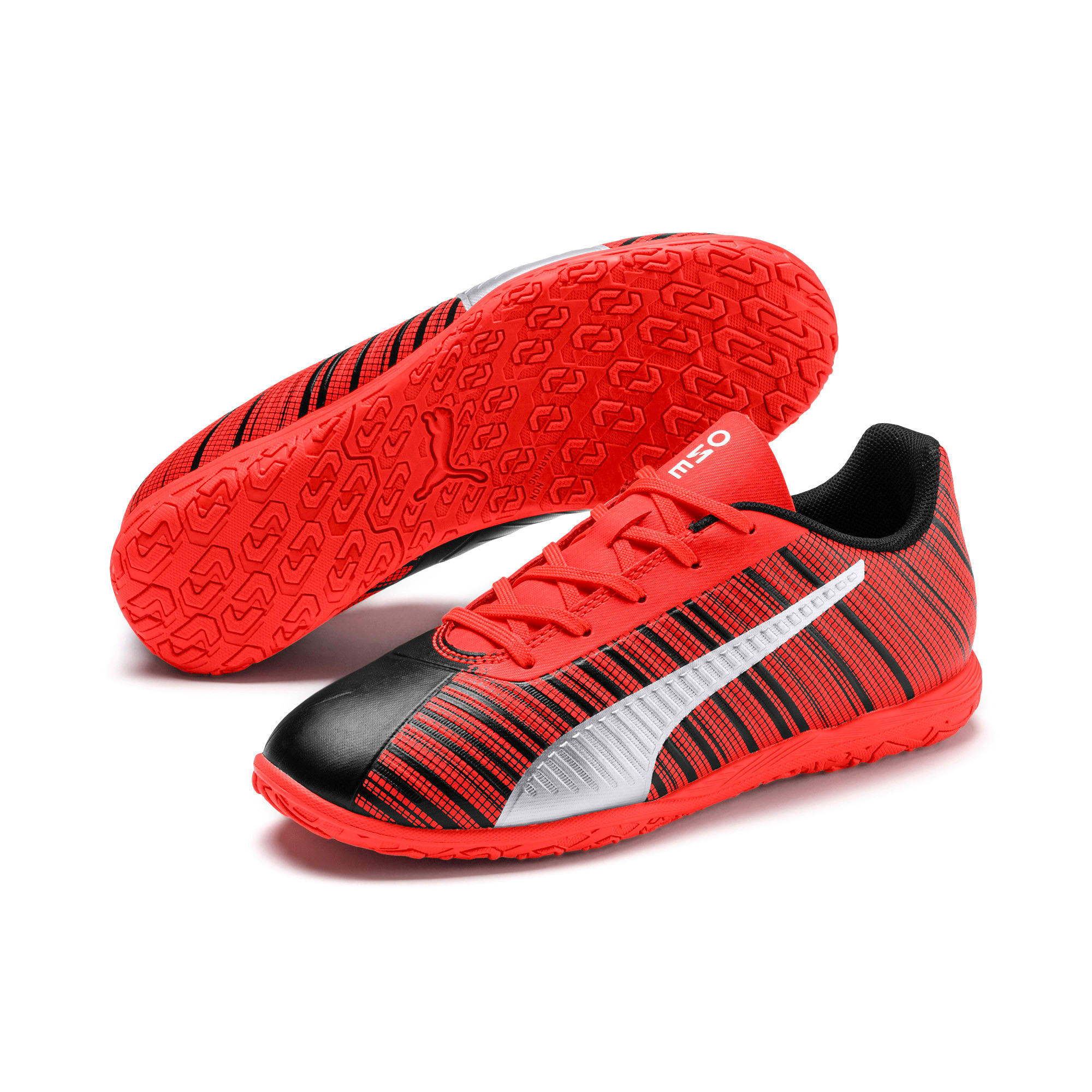 Thumbnail 2 of PUMA ONE 5.4 IT Soccer Shoes JR, Black-Nrgy Red-Aged Silver, medium