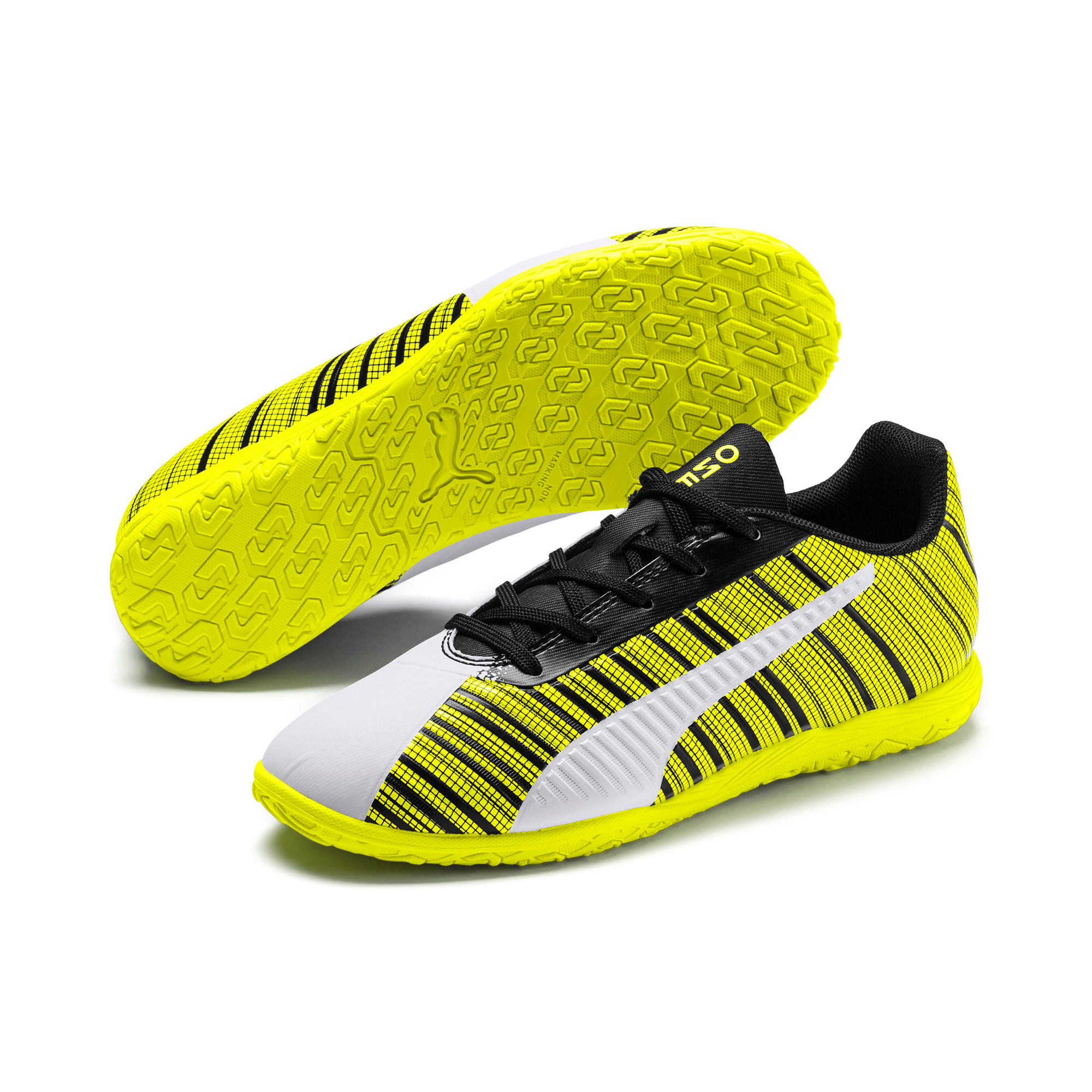 Thumbnail 2 of PUMA ONE 5.4 IT Youth Football Boots, White-Black-Yellow Alert, medium