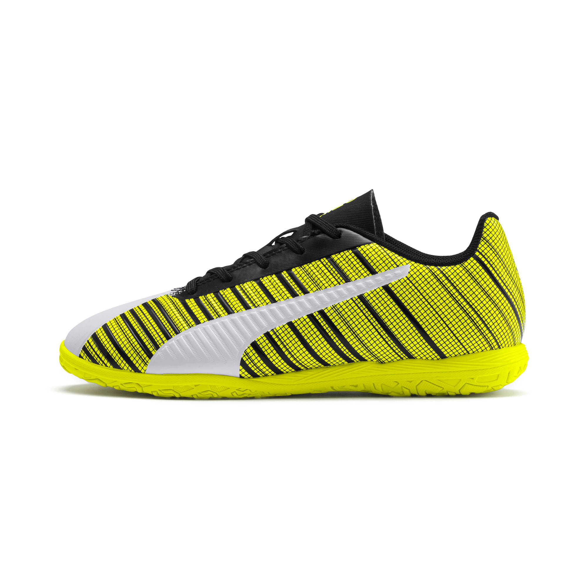 Thumbnail 1 of PUMA ONE 5.4 IT Youth Football Boots, White-Black-Yellow Alert, medium
