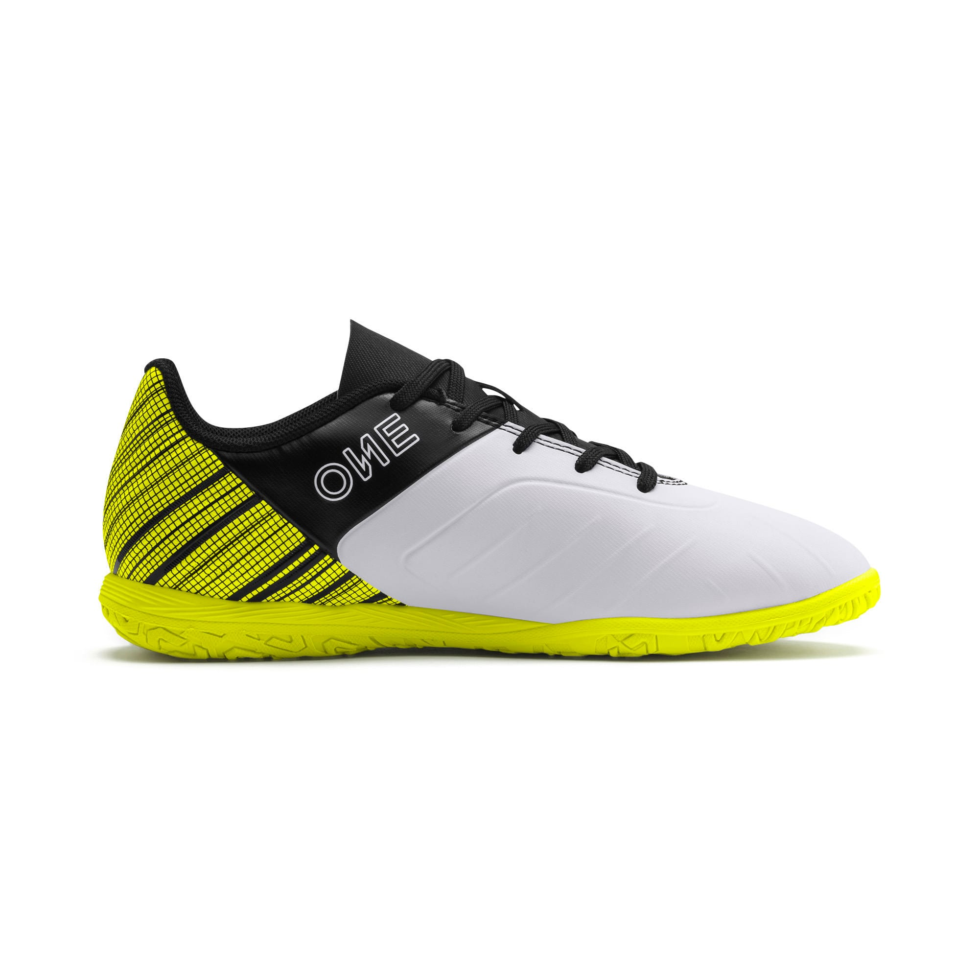 Thumbnail 5 of PUMA ONE 5.4 IT Youth Football Boots, White-Black-Yellow Alert, medium