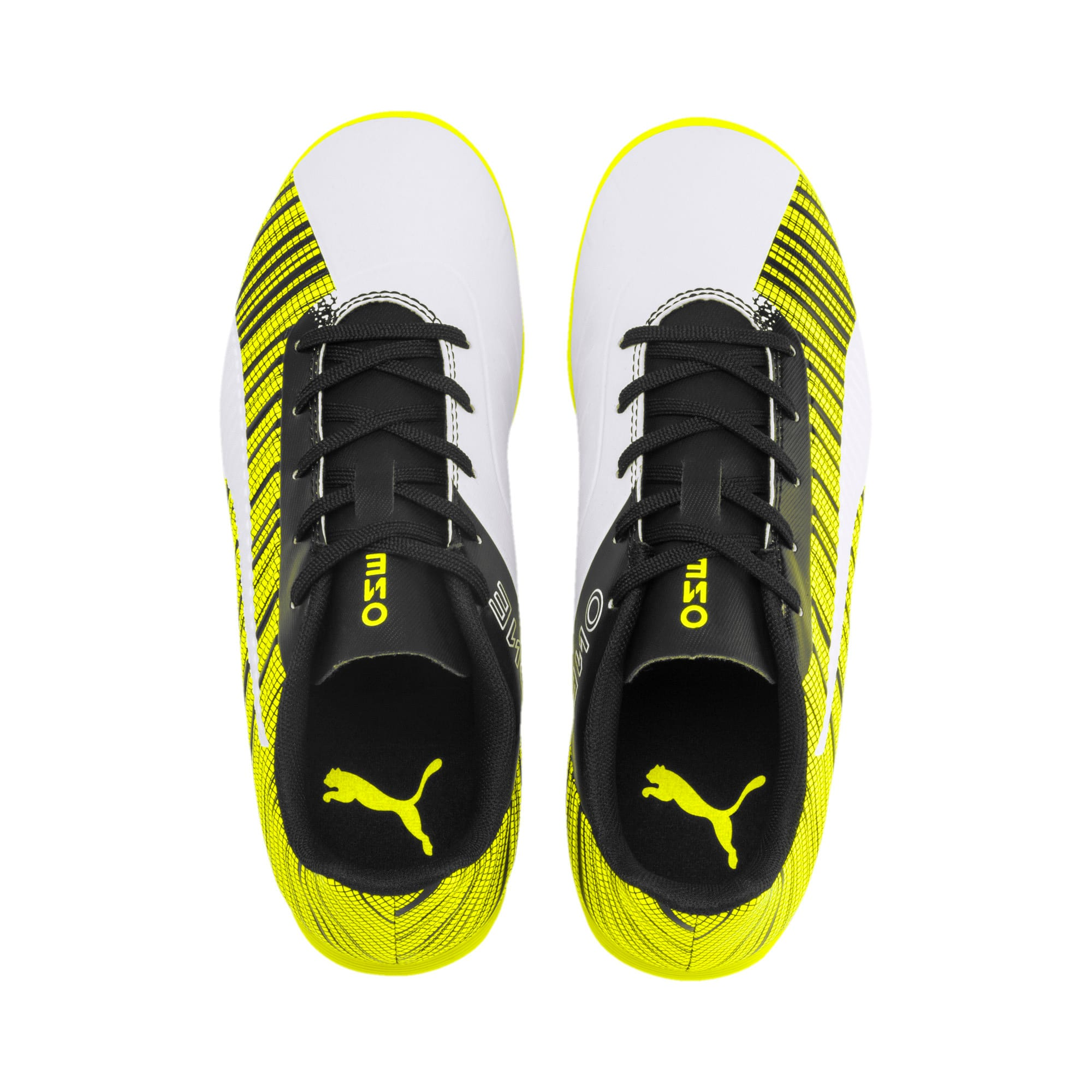 Thumbnail 6 of PUMA ONE 5.4 IT Youth Football Boots, White-Black-Yellow Alert, medium