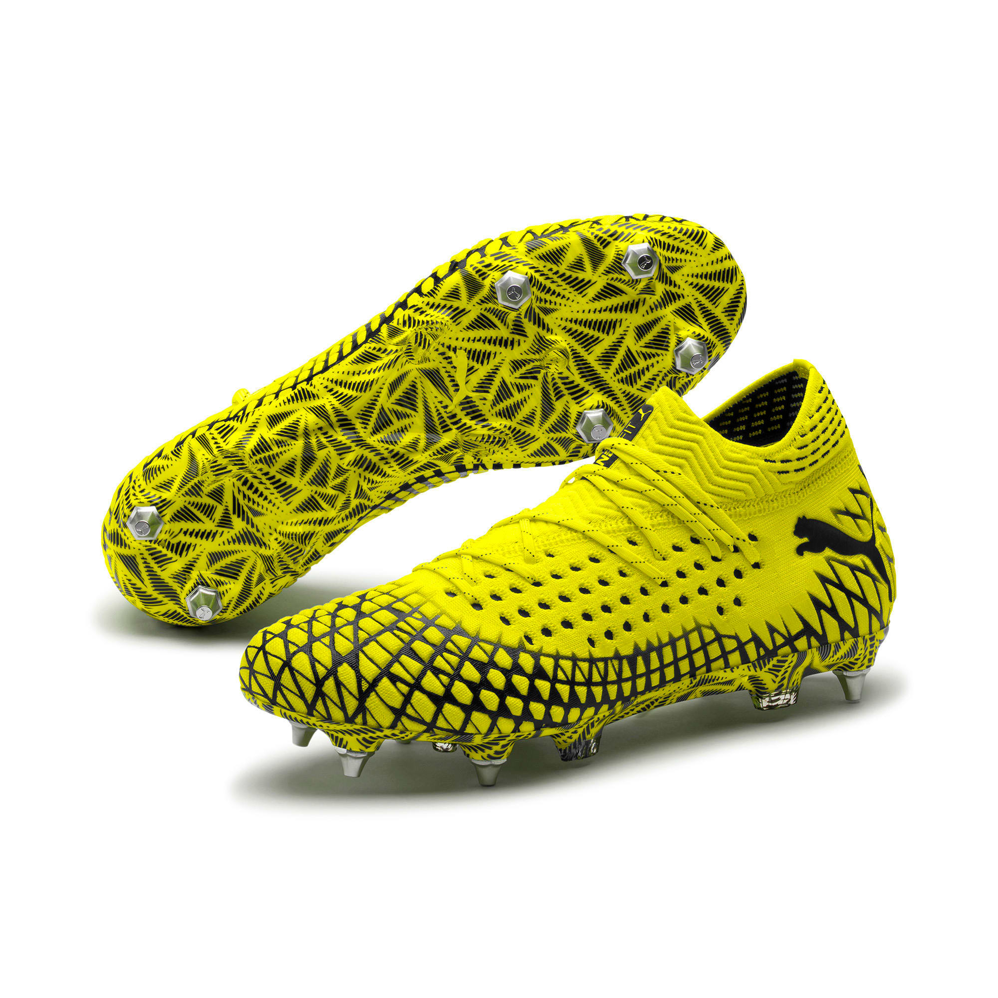 Thumbnail 2 of FUTURE 4.1 NETFIT MxSG Football Boots, Yellow Alert-Puma Black, medium