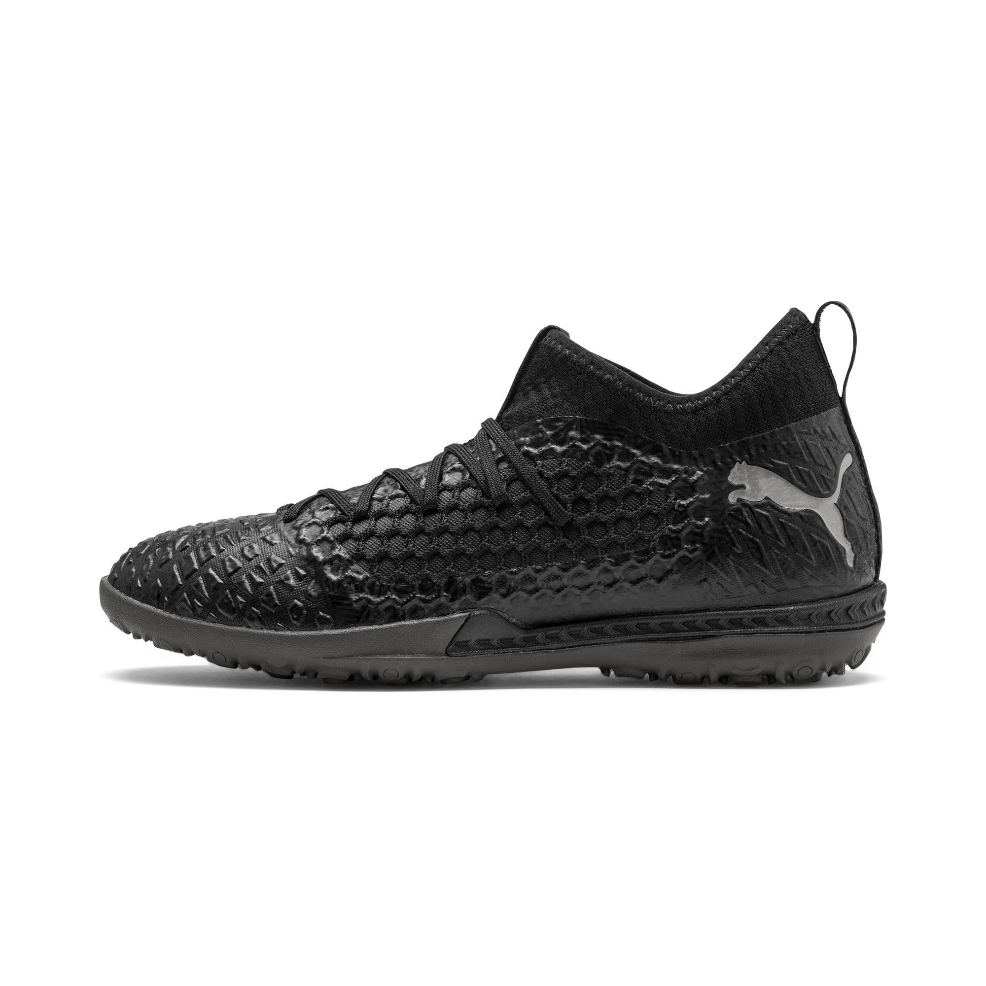 Thumbnail 1 of FUTURE 4.3 NETFIT TT Men's Soccer Shoes, Black-Black-Puma Aged Silver, medium