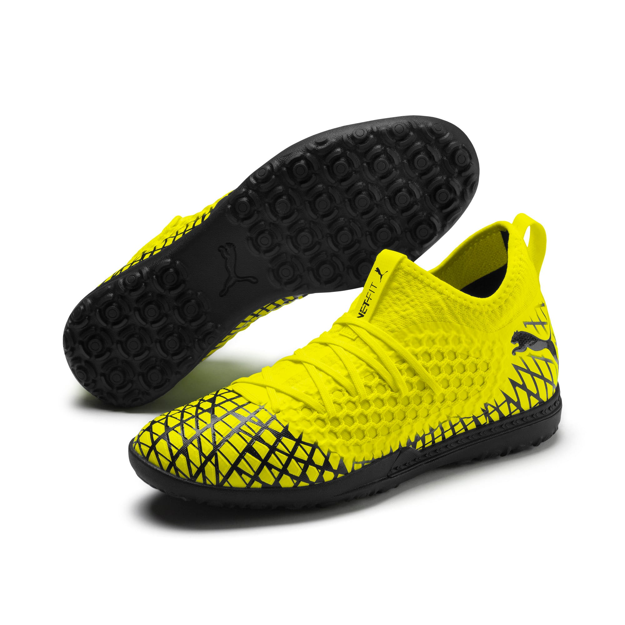 Thumbnail 3 of FUTURE 4.3 NETFIT TT Men's Soccer Shoes, Yellow Alert-Puma Black, medium