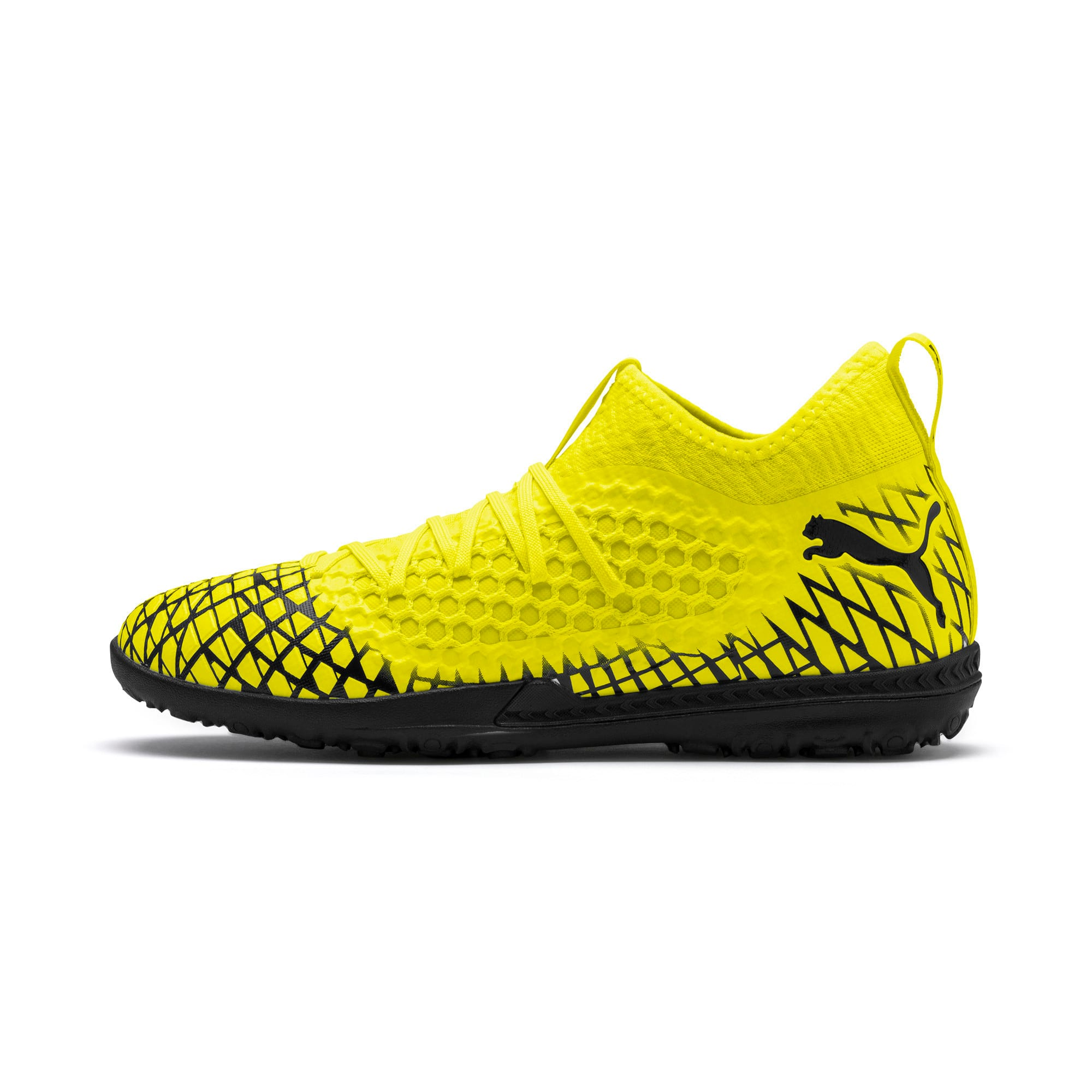 Thumbnail 1 of FUTURE 4.3 NETFIT TT Men's Soccer Shoes, Yellow Alert-Puma Black, medium