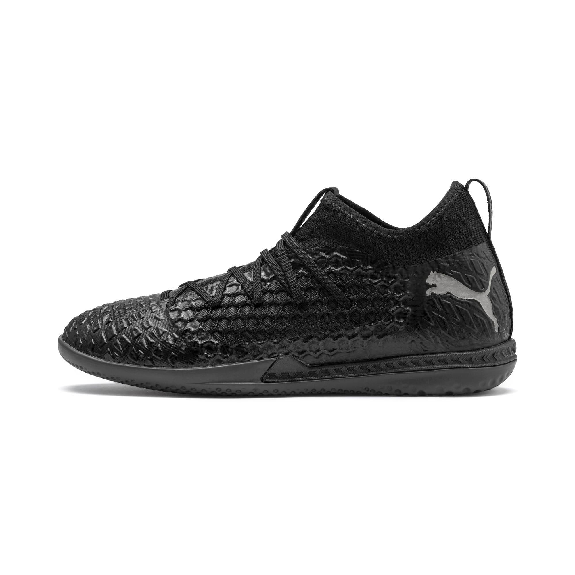 Thumbnail 1 of FUTURE 4.3 NETFIT IT Men's Soccer Shoes, Black-Black-Puma Aged Silver, medium