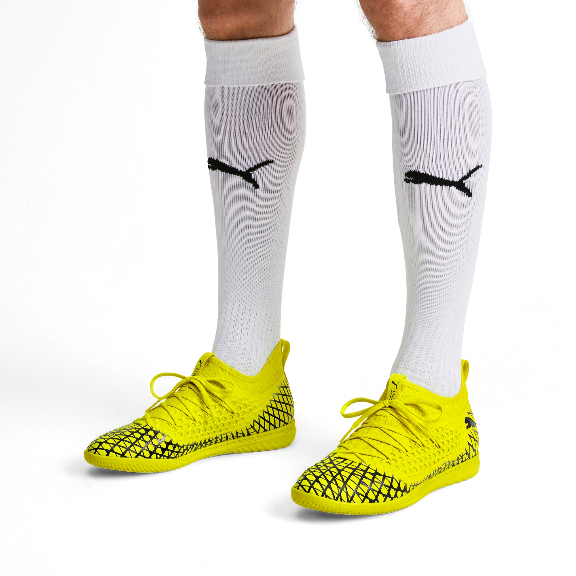 Thumbnail 2 of FUTURE 4.3 NETFIT IT Men's Soccer Shoes, Yellow Alert-Puma Black, medium