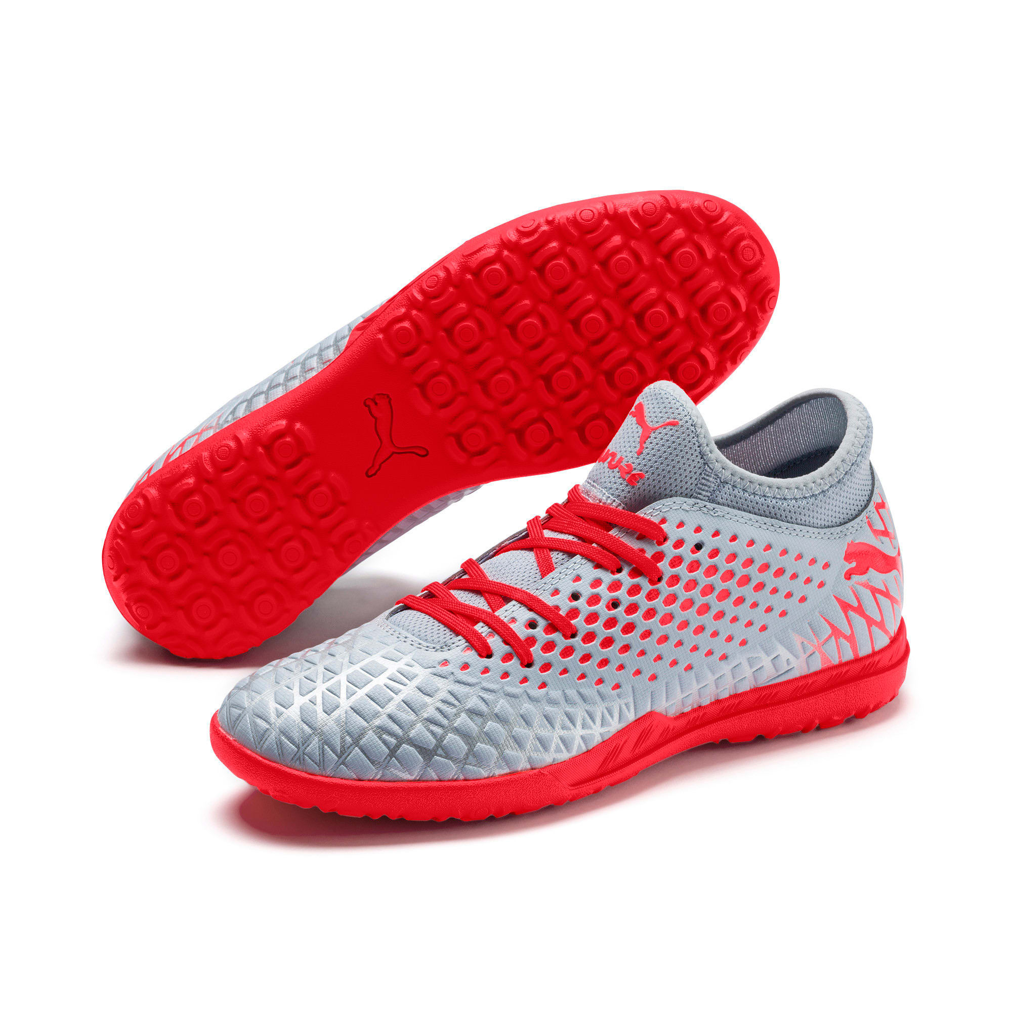 Thumbnail 3 of FUTURE 4.4 TT Men's Soccer Shoes, Glacial Blue-Nrgy Red, medium