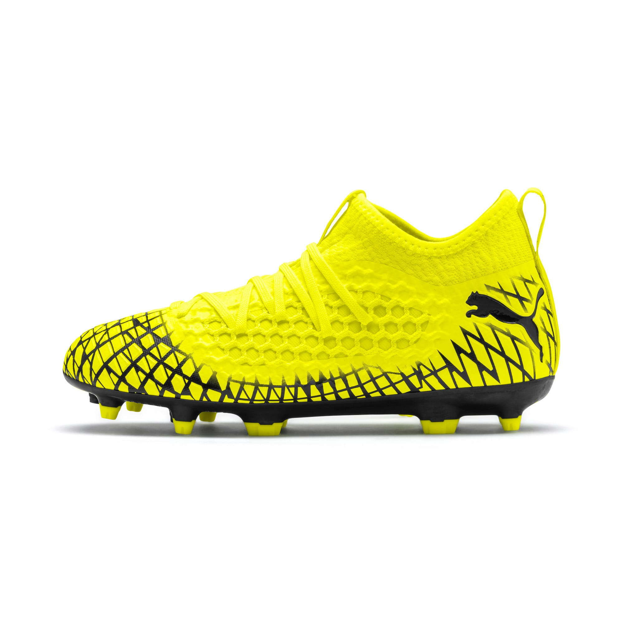 Thumbnail 1 of FUTURE 4.3 NETFIT Youth FG/AG Football Boots, Yellow Alert-Puma Black, medium