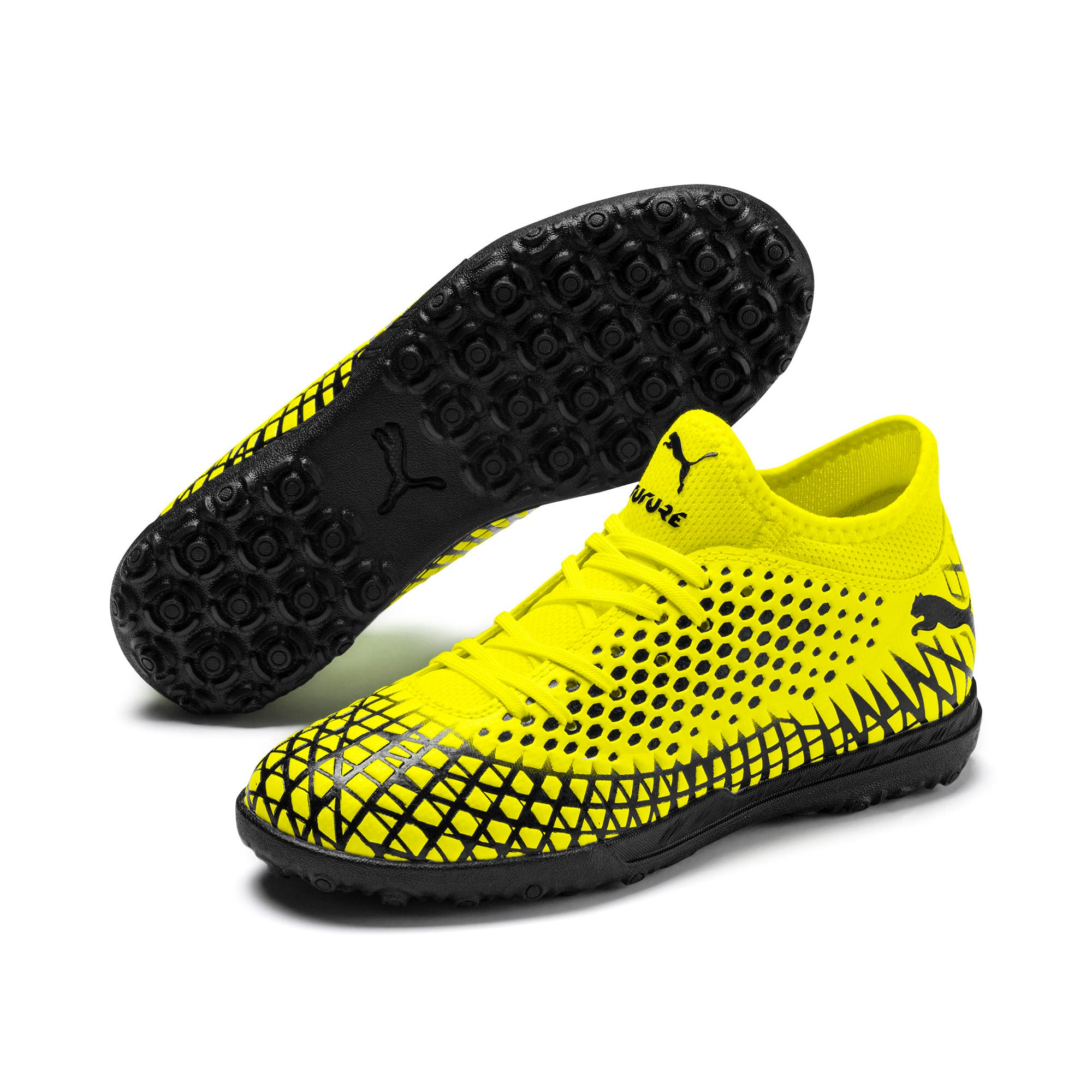 Thumbnail 2 of FUTURE 4.4 TT Youth Football Boots, Yellow Alert-Puma Black, medium