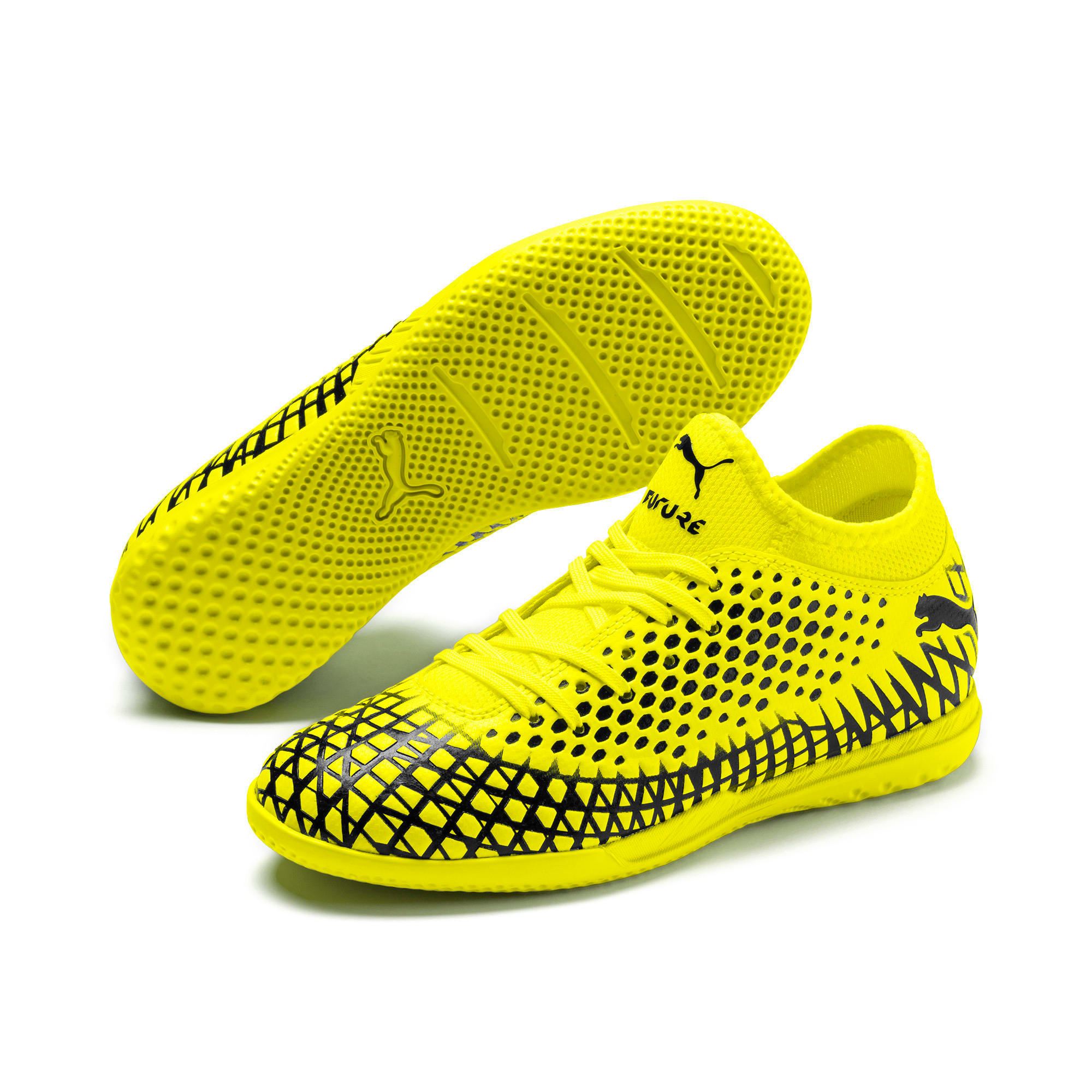 Thumbnail 2 of FUTURE 4.4 IT Youth Football Boots, Yellow Alert-Puma Black, medium