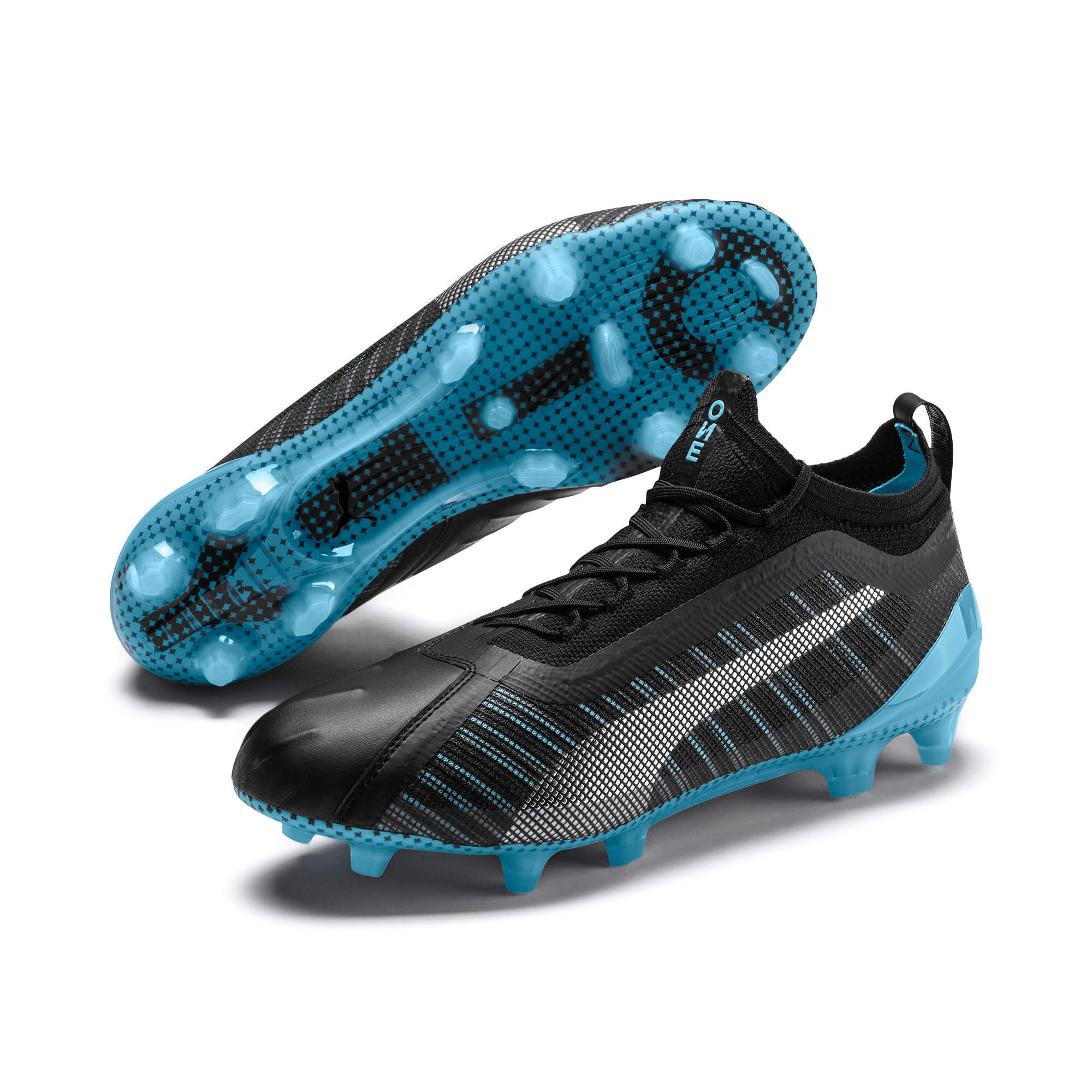 Thumbnail 3 of PUMA ONE 5.1 City FG/AG Men's Soccer Cleats, Black-Sky Blue-Silver, medium