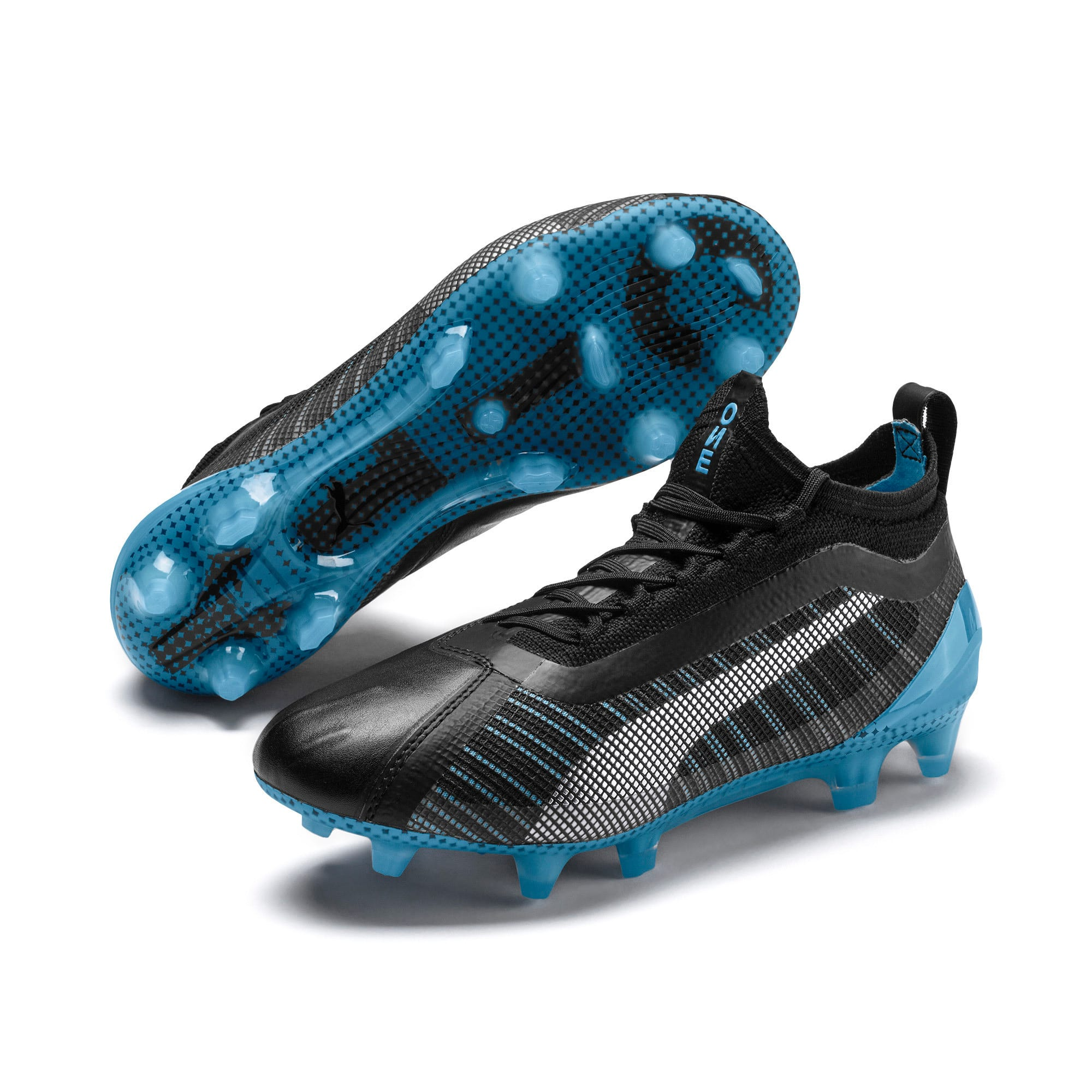Thumbnail 2 of PUMA ONE 5.1 City Youth Football Boots, Black-Sky Blue-Puma White, medium