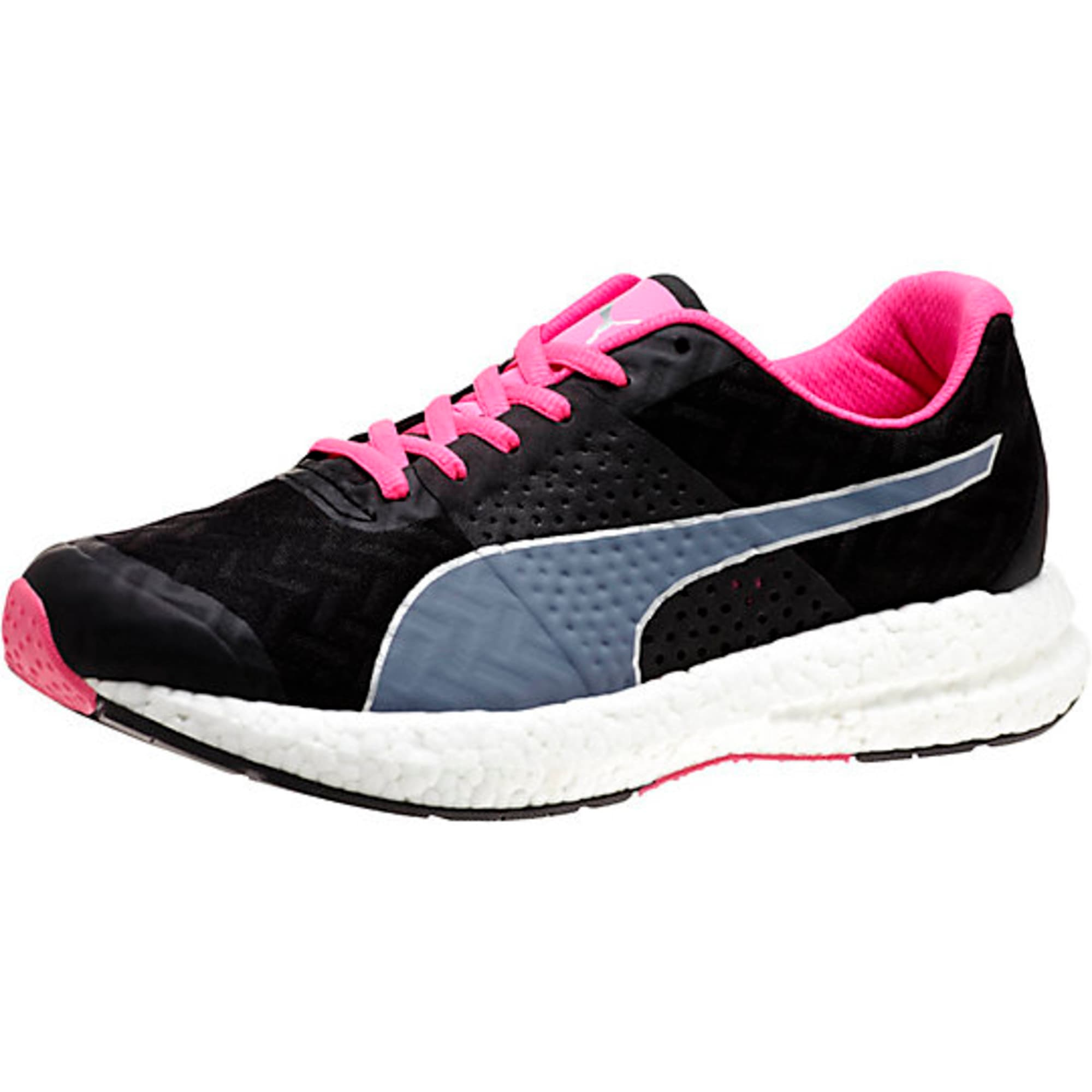 Thumbnail 1 of NRGY Running Shoes, black-fluo pink, medium-IND