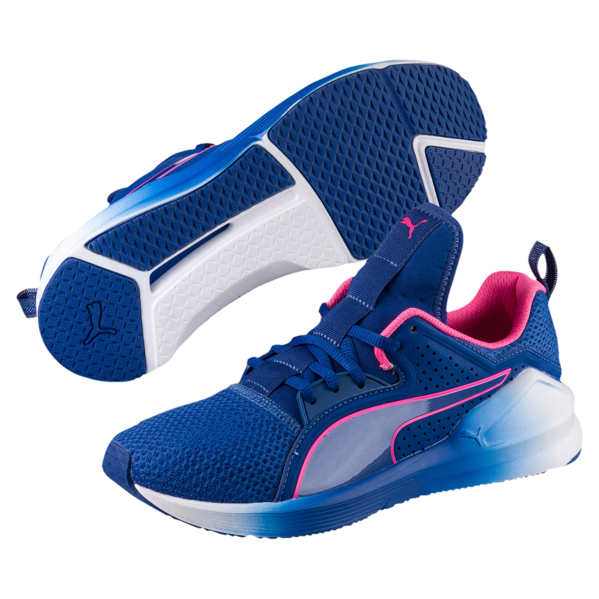 Thumbnail 2 of PUMA Fierce Lace Training Shoes, TRUE BLUE-KNOCKOUT PINK, medium-IND