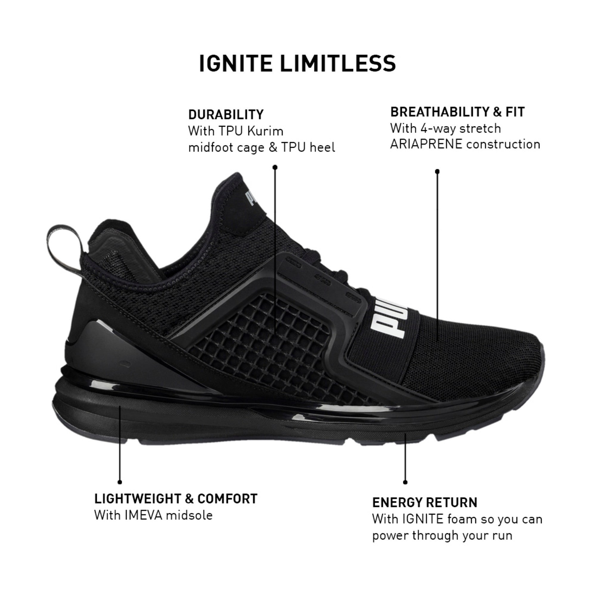 Thumbnail 8 of IGNITE Limitless Men's Running Shoes, Puma Black, medium-IND