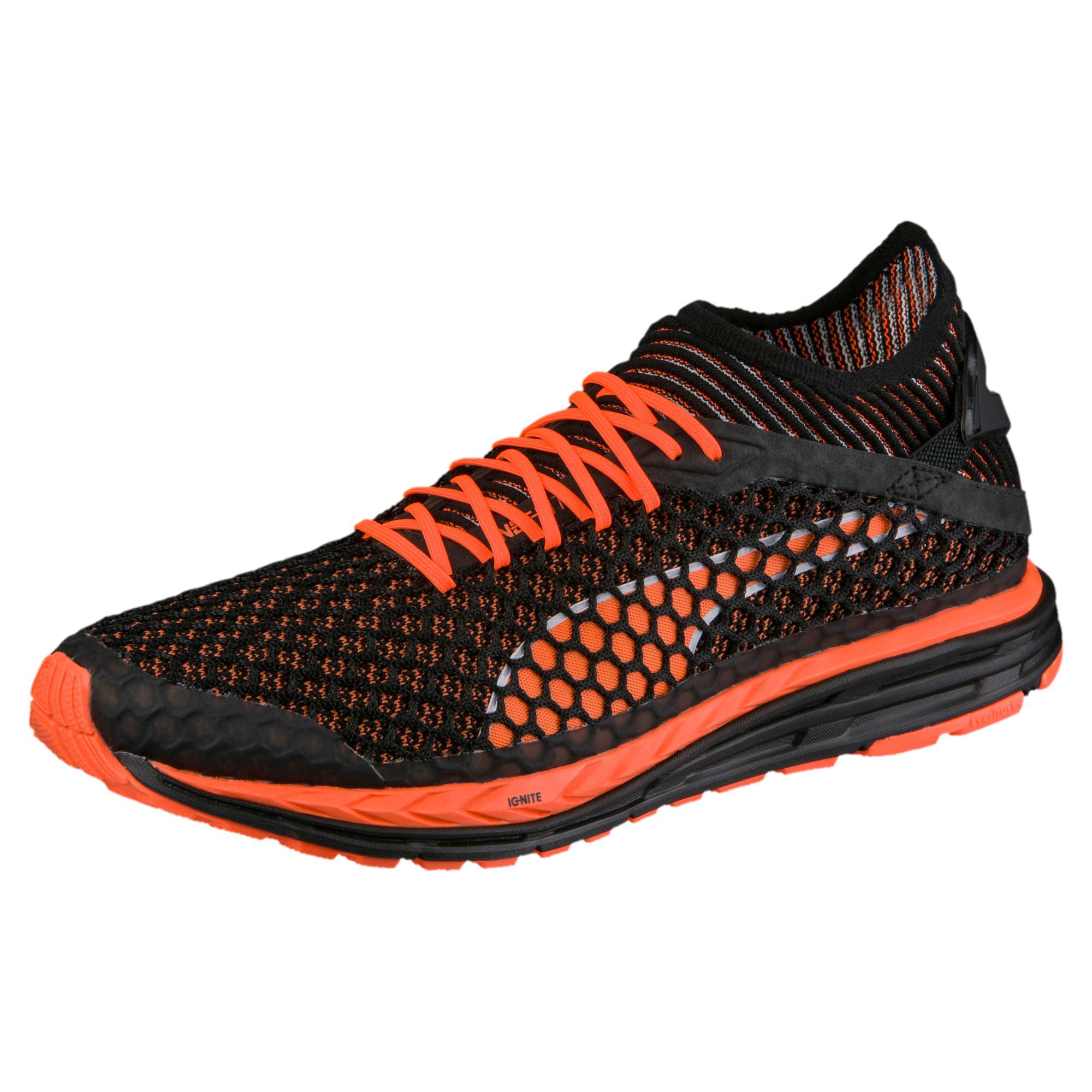 Thumbnail 3 of Speed IGNITE NETFIT Men's Running Shoes, Black-Shocking Orange-White, medium-IND