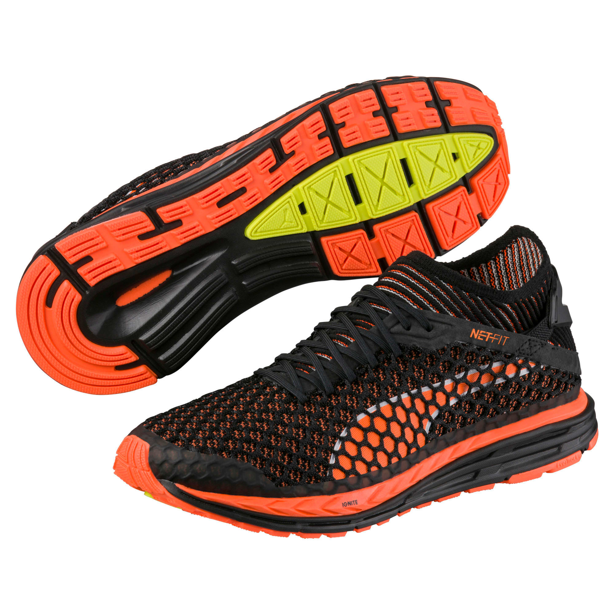 Thumbnail 2 of Speed IGNITE NETFIT Men's Running Shoes, Black-Shocking Orange-White, medium-IND