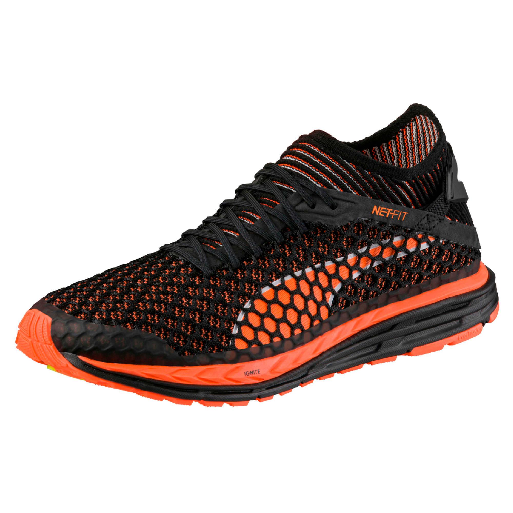 Thumbnail 1 of Speed IGNITE NETFIT Men's Running Shoes, Black-Shocking Orange-White, medium-IND