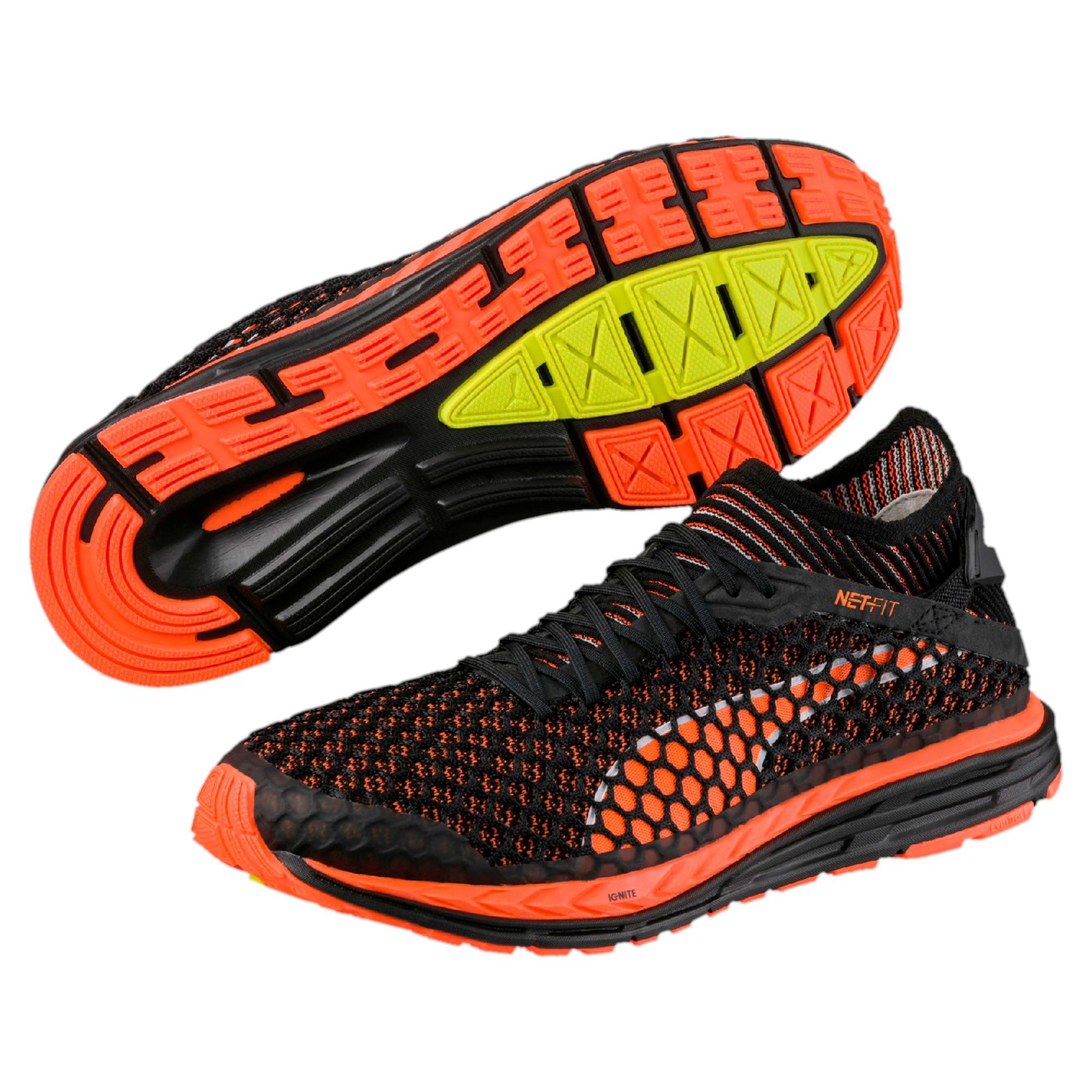 Thumbnail 7 of Speed IGNITE NETFIT Men's Running Shoes, Black-Shocking Orange-White, medium-IND