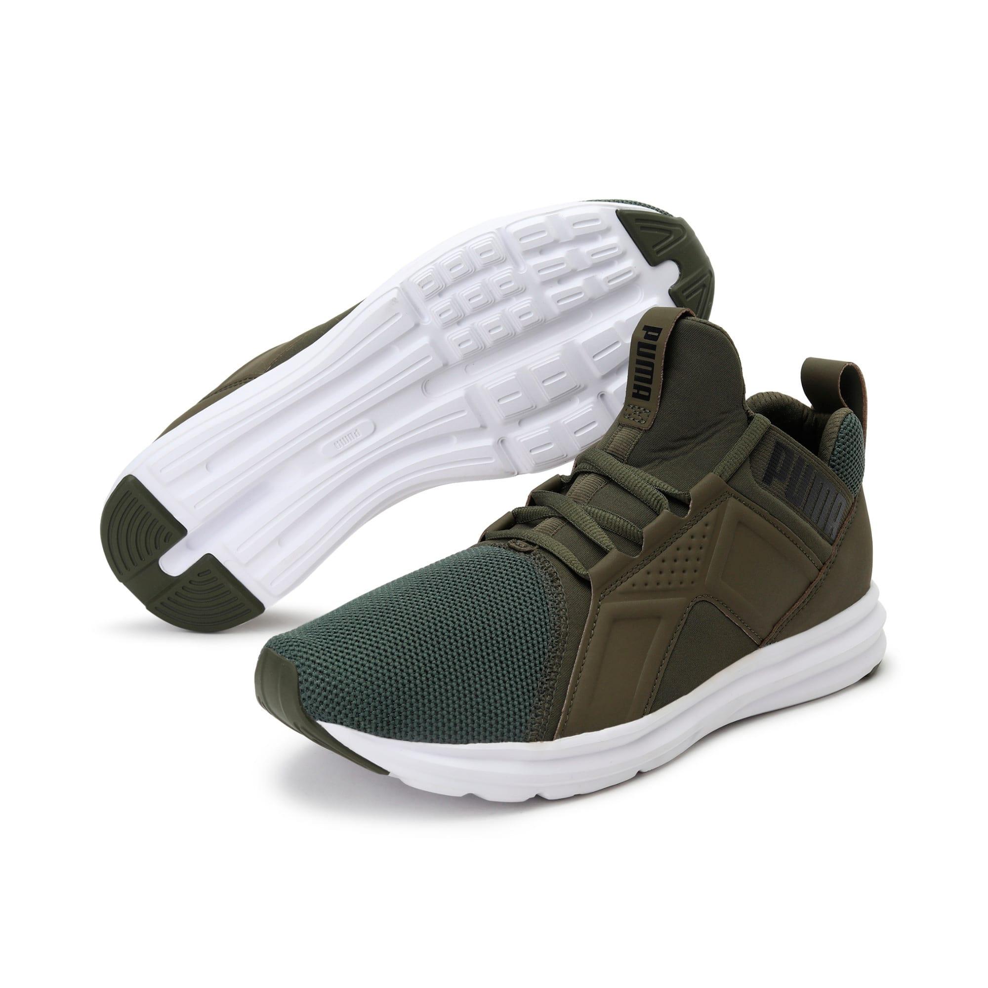 Thumbnail 2 of Enzo Mesh Men's Running Shoes, Olive Night-Puma White, medium-IND