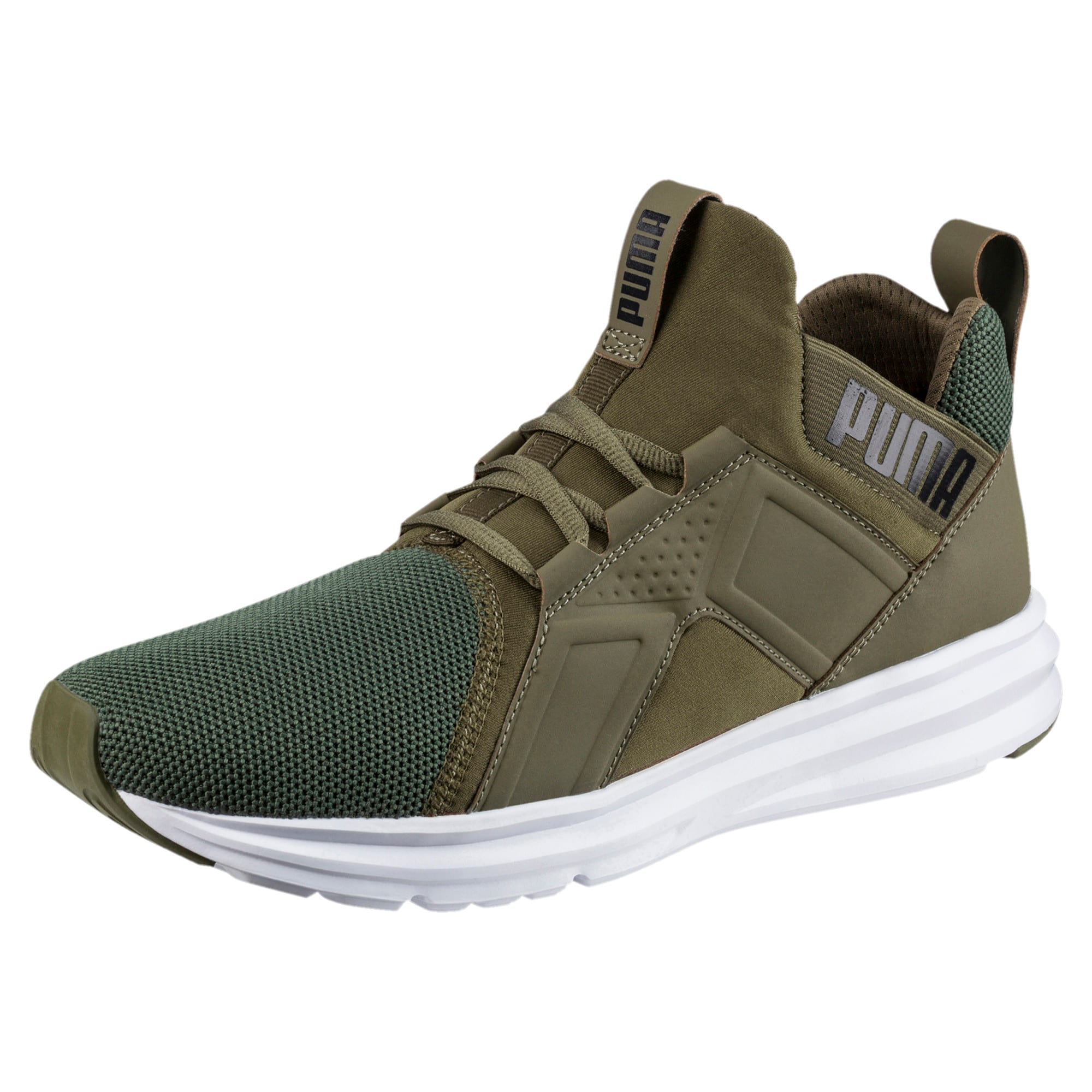 Thumbnail 1 of Enzo Mesh Men's Running Shoes, Olive Night-Puma White, medium-IND