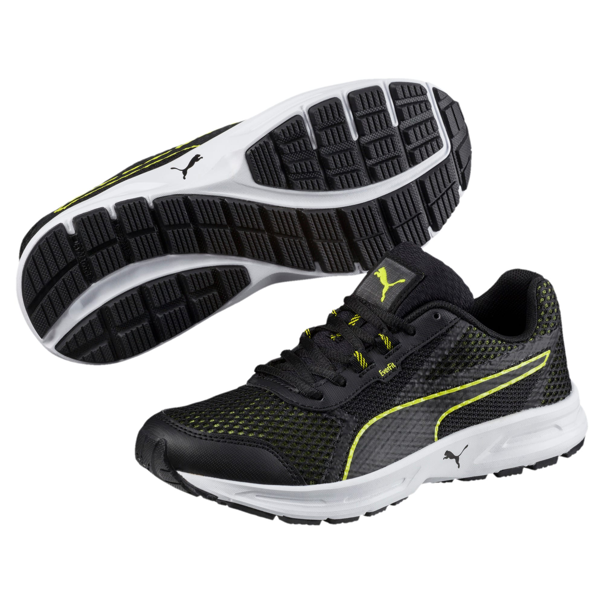 Thumbnail 2 of Essential Runner Kids' Running Shoes, Puma Black-Nrgy Yellow, medium-IND