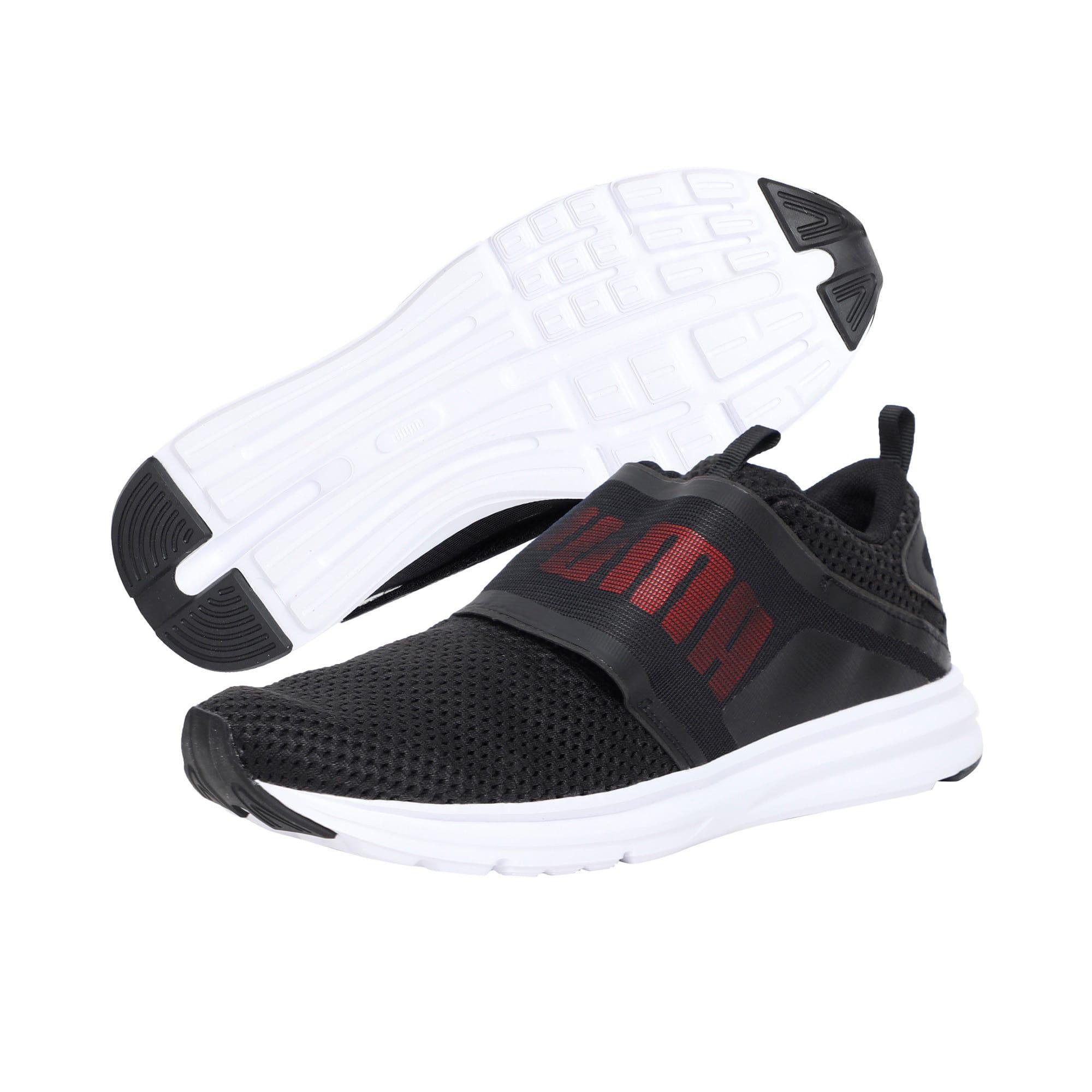 Thumbnail 2 of Enzo Strap Mesh Men's Running Shoes, Puma Black-Flame Scarlet, medium-IND
