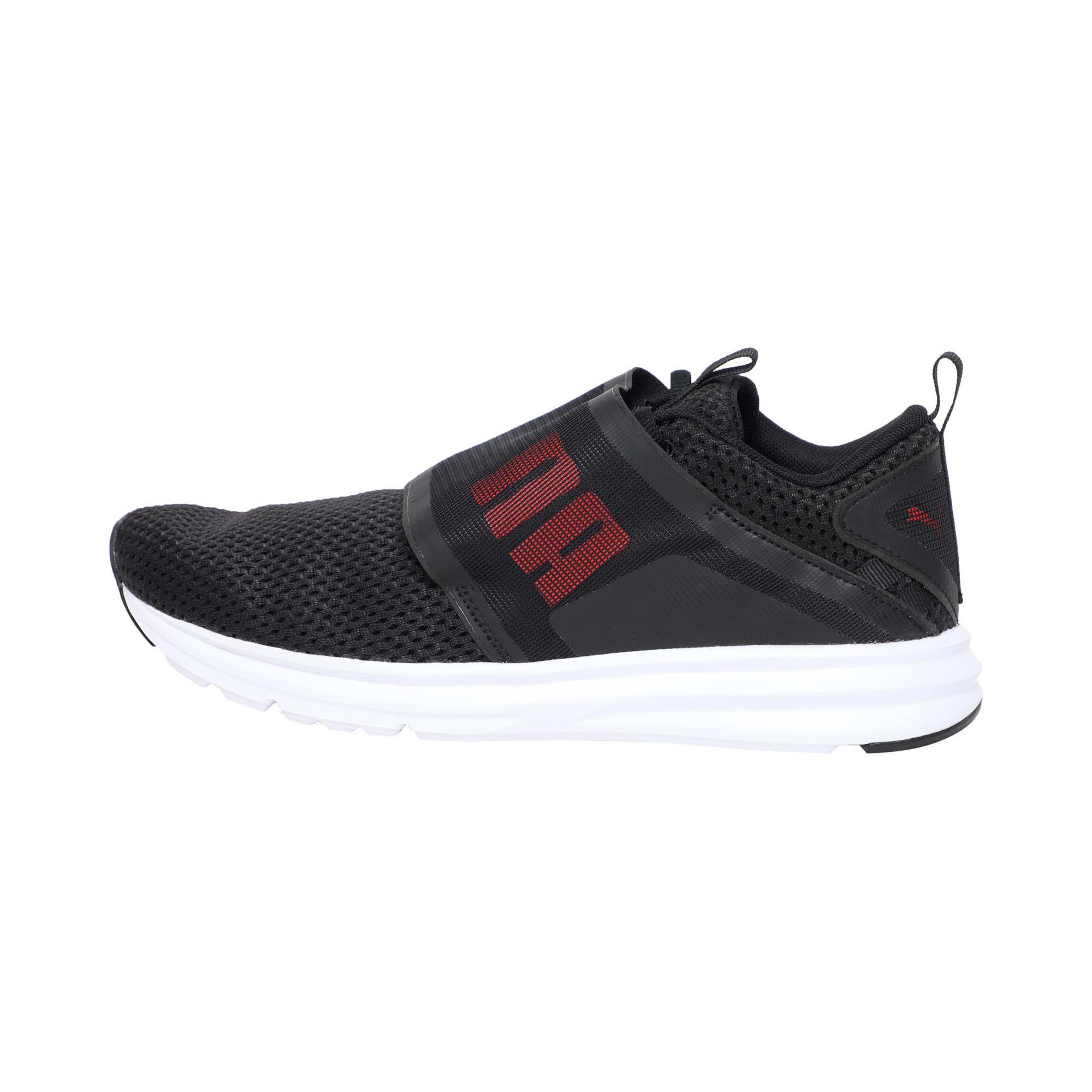 Thumbnail 1 of Enzo Strap Mesh Men's Running Shoes, Puma Black-Flame Scarlet, medium-IND