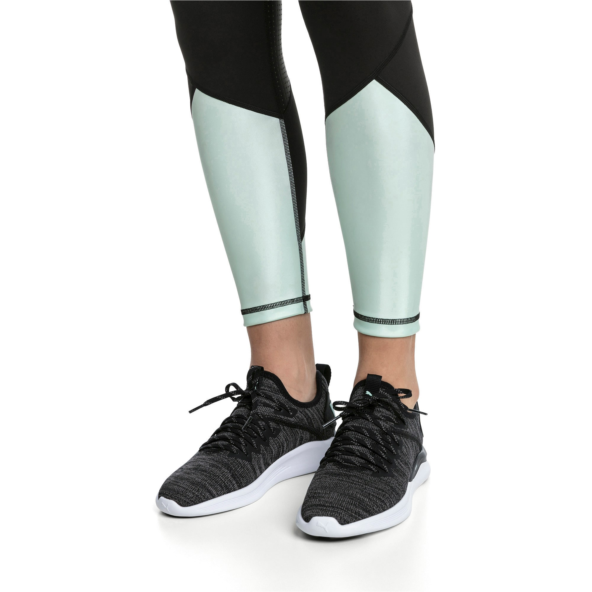 Thumbnail 2 of IGNITE Flash evoKNIT Women's Running Shoes, Black-Charcoal-Fair Aqua, medium-IND