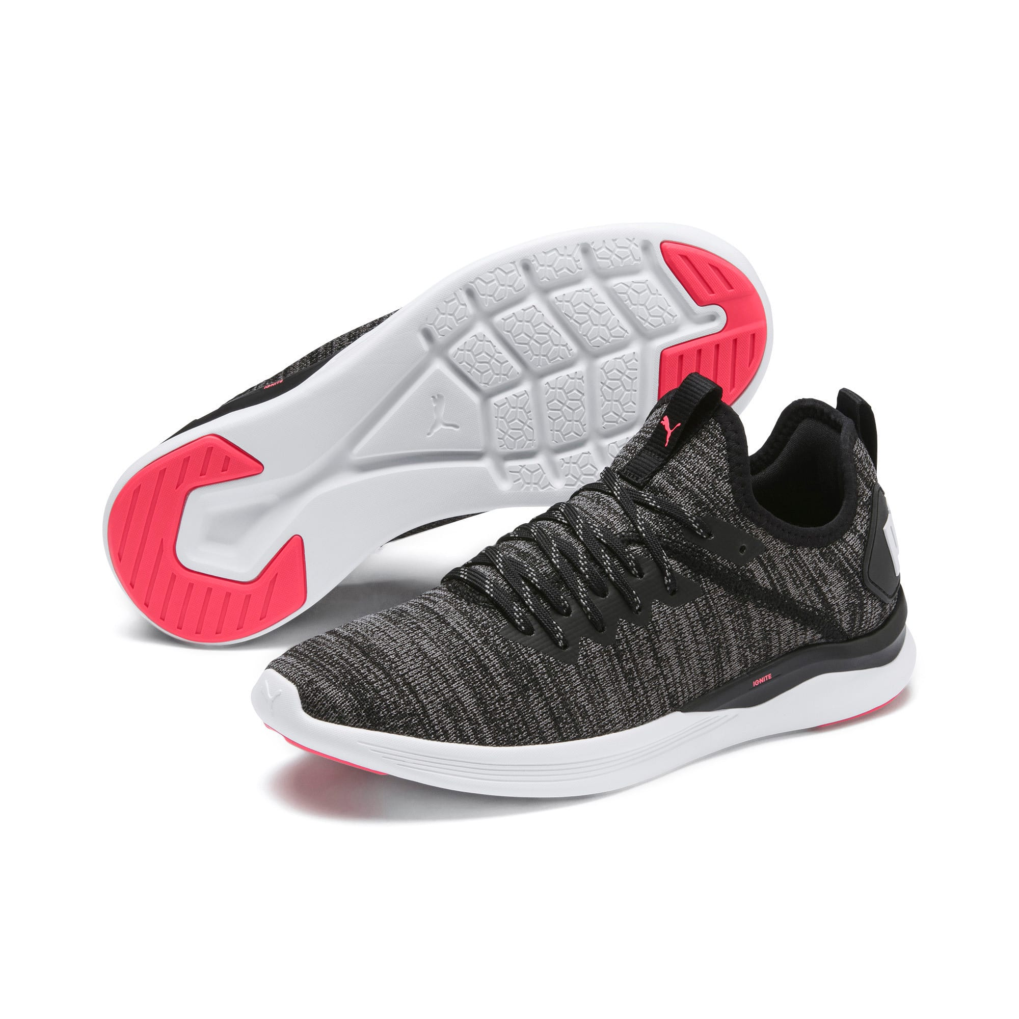 Thumbnail 3 of IGNITE Flash evoKNIT Women's Running Shoes, Black-White-Pink Alert, medium