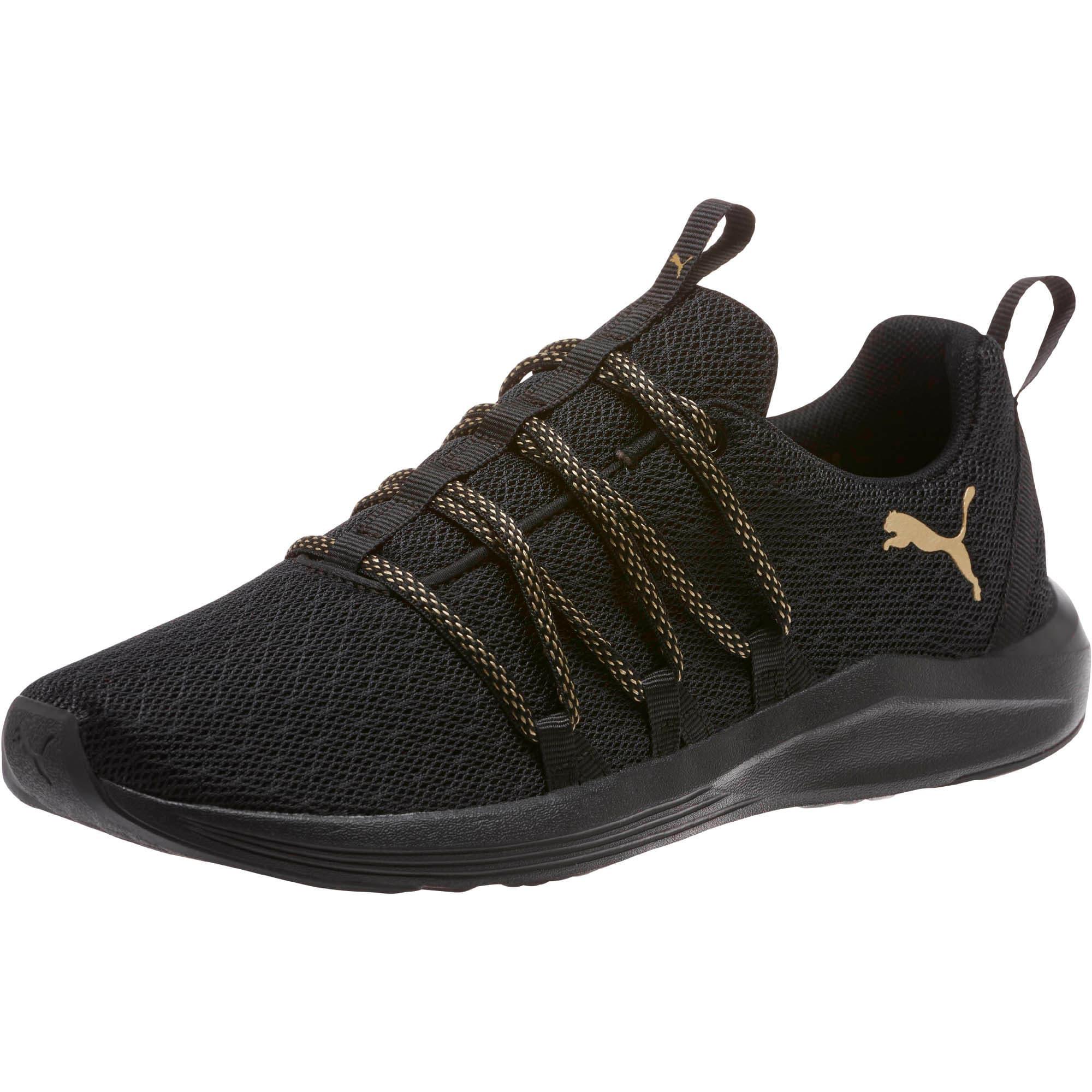 Thumbnail 1 of Prowl Alt Knit Mesh Women's Running Shoes, Puma Black-Metallic Gold, medium