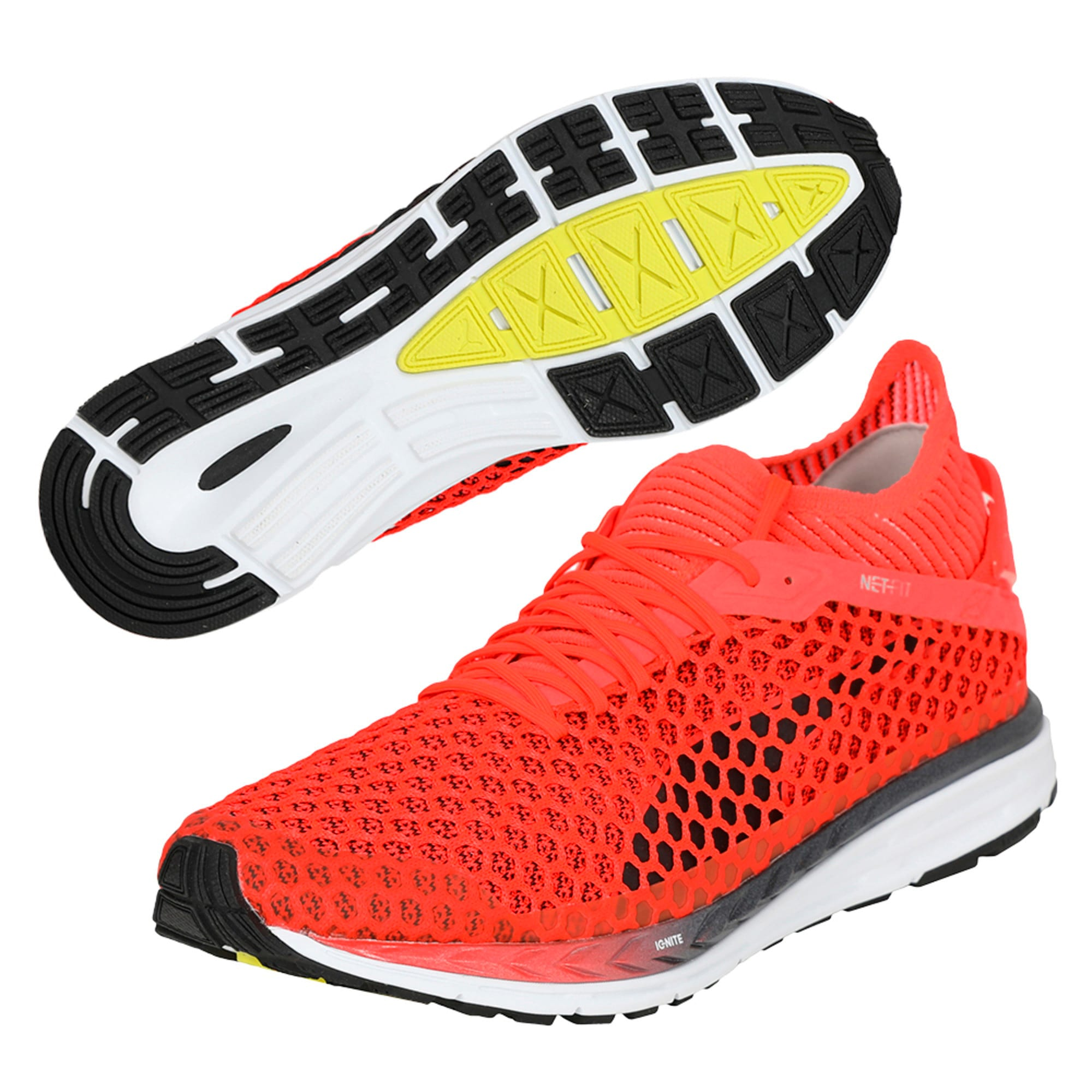 Thumbnail 6 of Speed IGNITE NETFIT 2 Men's Running Shoes, Red Blast-White-Black, medium-IND
