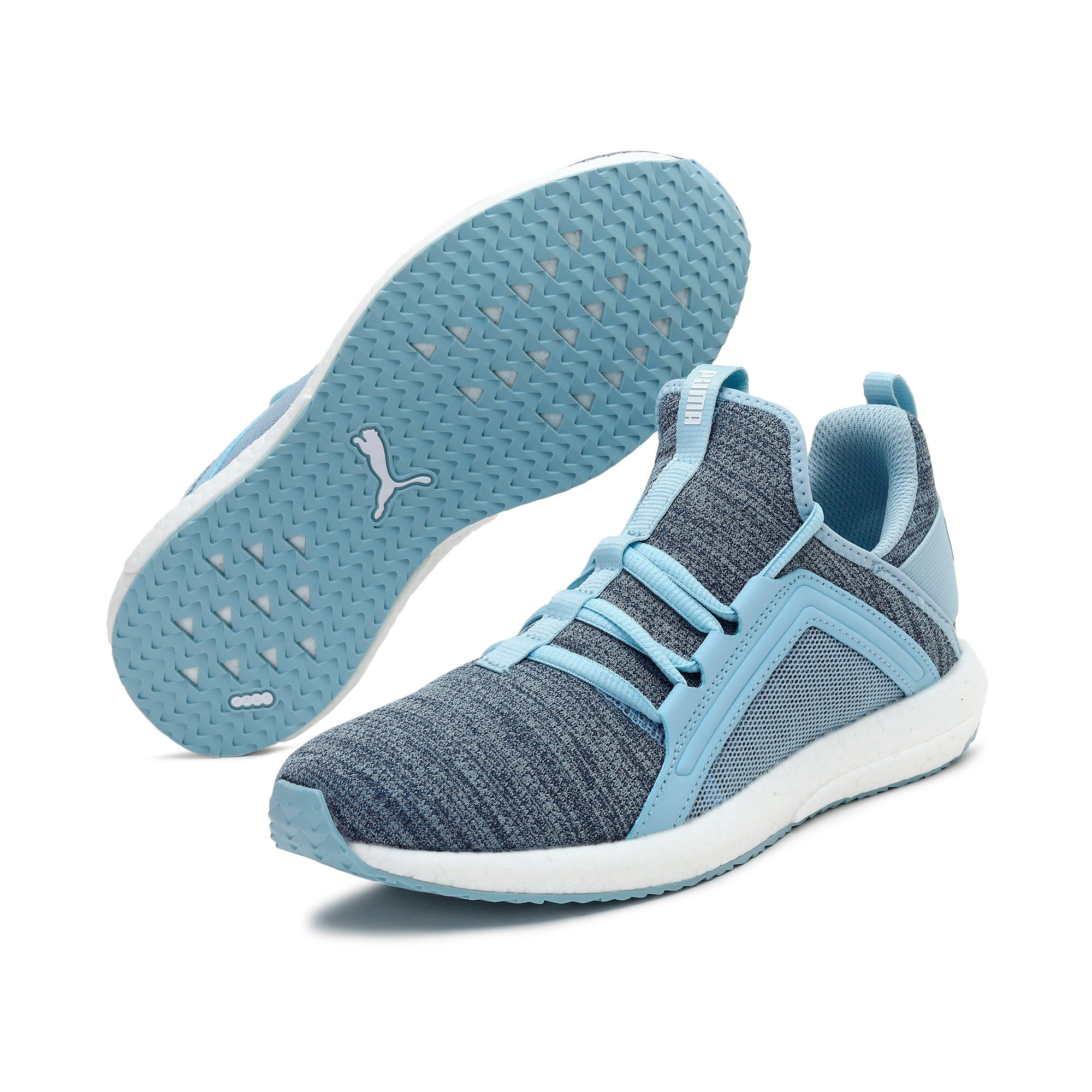 Thumbnail 3 of Mega Energy Heather Knit Women's Running Shoes, CERULEAN-Peacoat, medium-IND