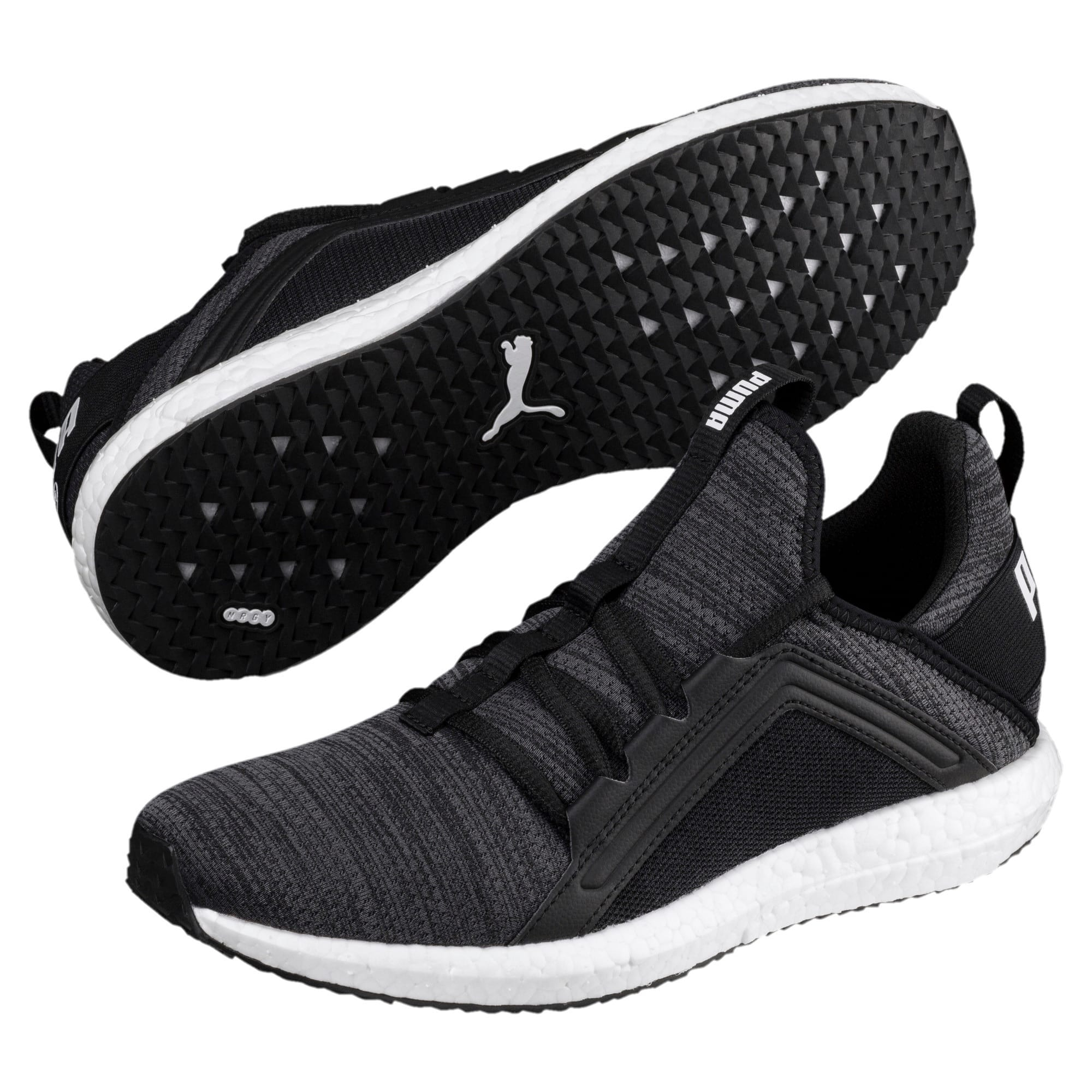 Thumbnail 6 of Mega Energy Heather Knit Women's Running Shoes, Black-Iron Gate-White, medium-IND