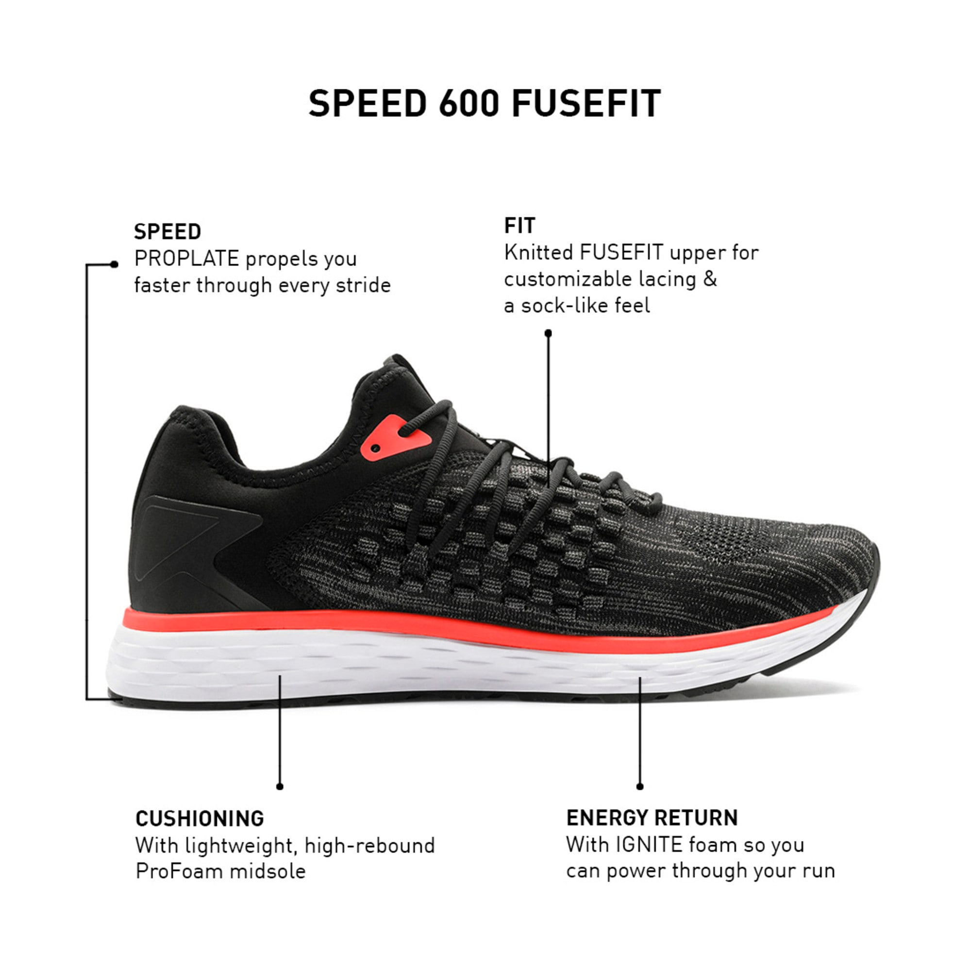 Thumbnail 9 of SPEED FUSEFIT Men's Running Shoes, Puma Black-Nrgy Red, medium-IND