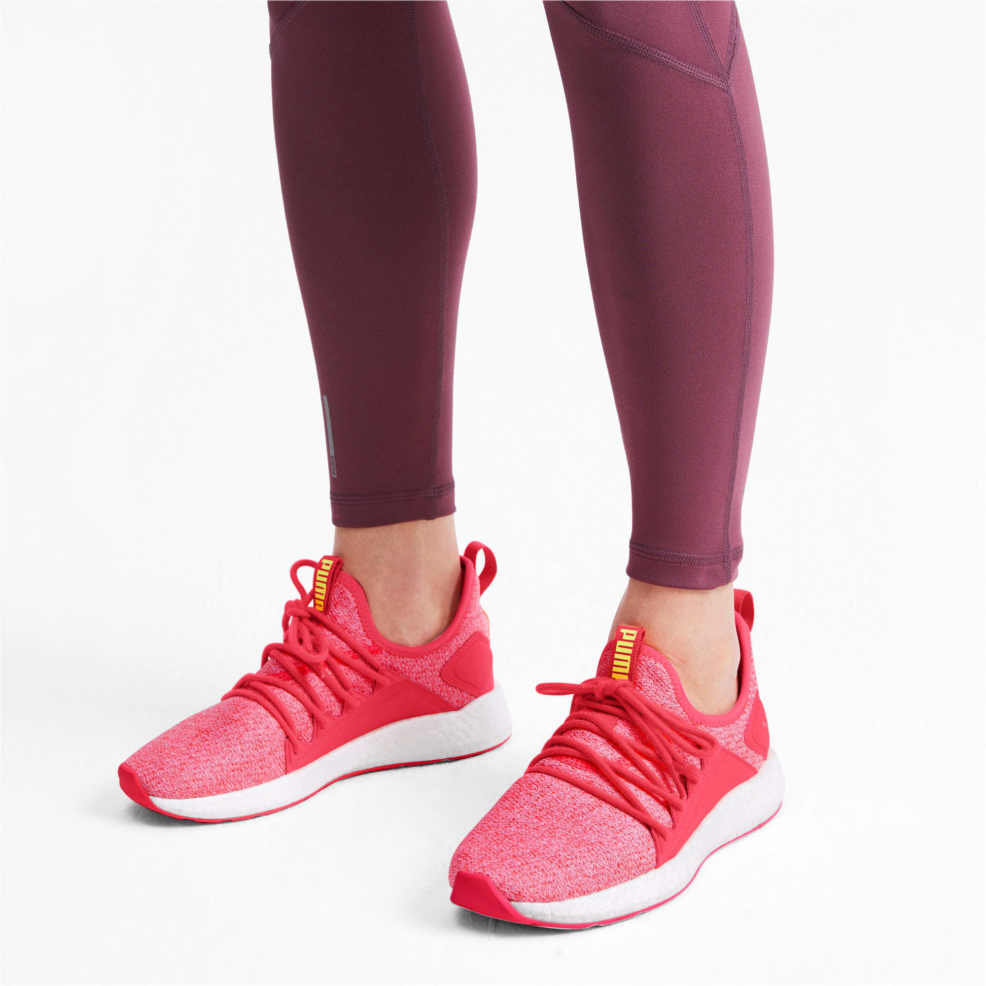 Thumbnail 3 of NRGY Neko Knit Women's Running Shoes, Pink Alert-Puma White, medium-IND