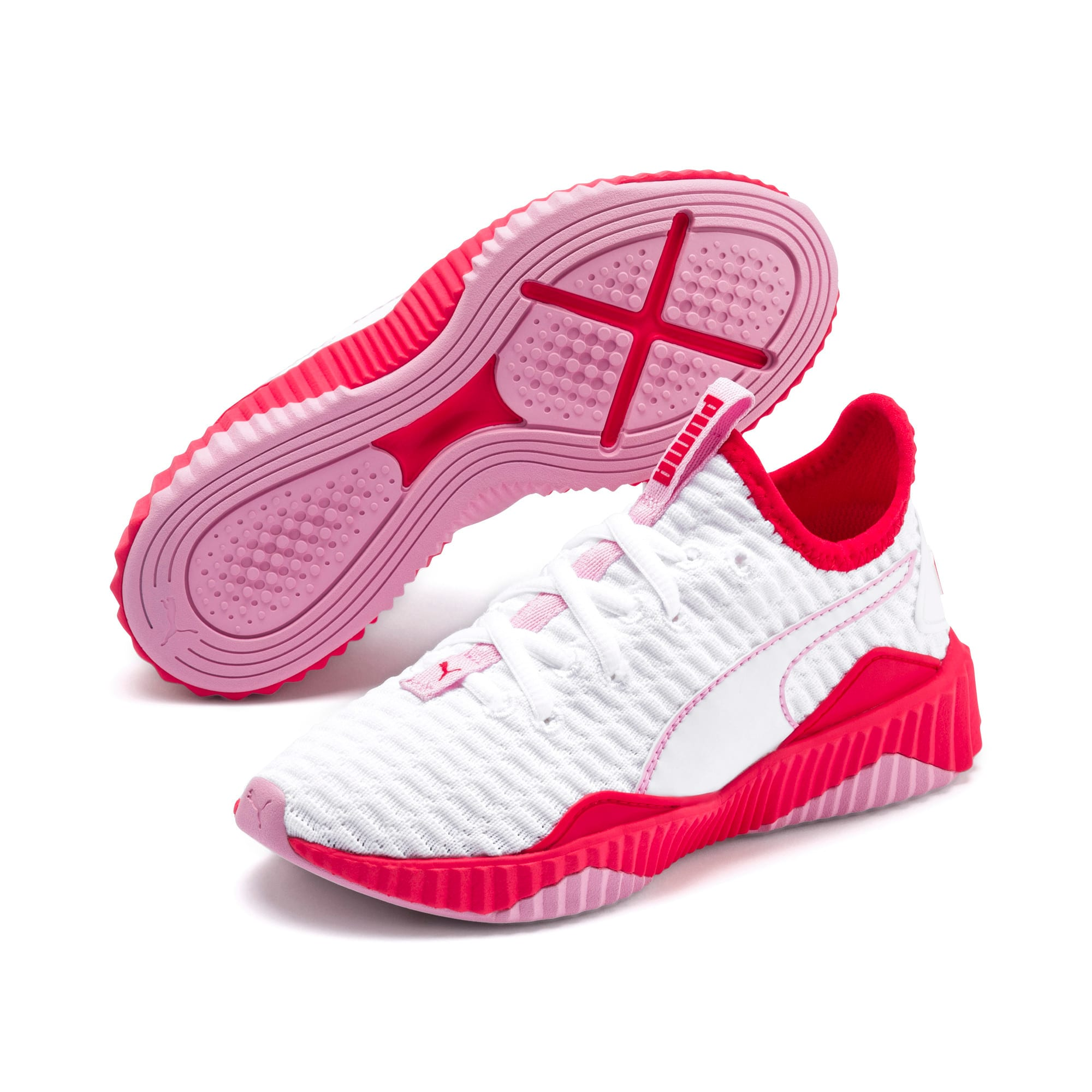 Thumbnail 2 of Defy Girls' Trainers, White-Hibiscus -Pale Pink, medium