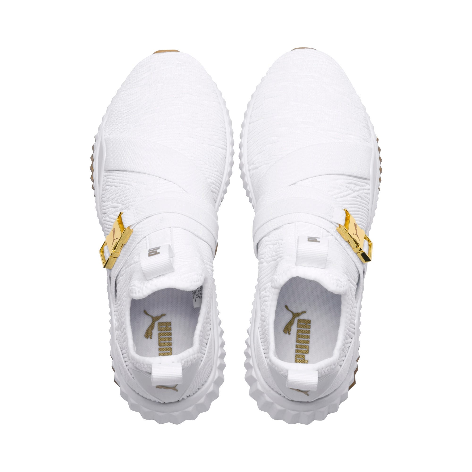 Thumbnail 4 of Defy Varsity Mid Women's Trainers, Puma White-Metallic Gold, medium-IND